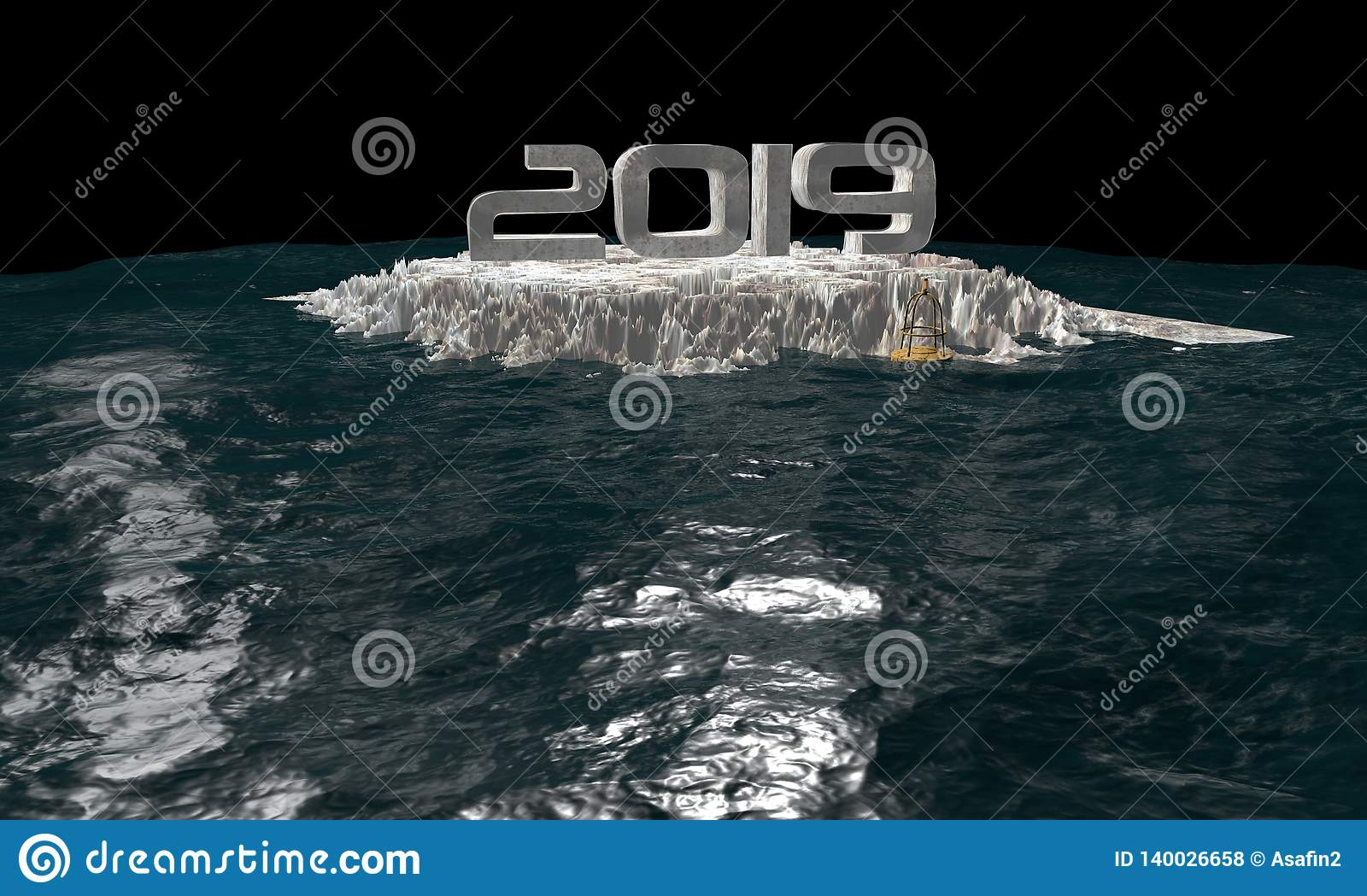 3D ocean caricature for international situation threat