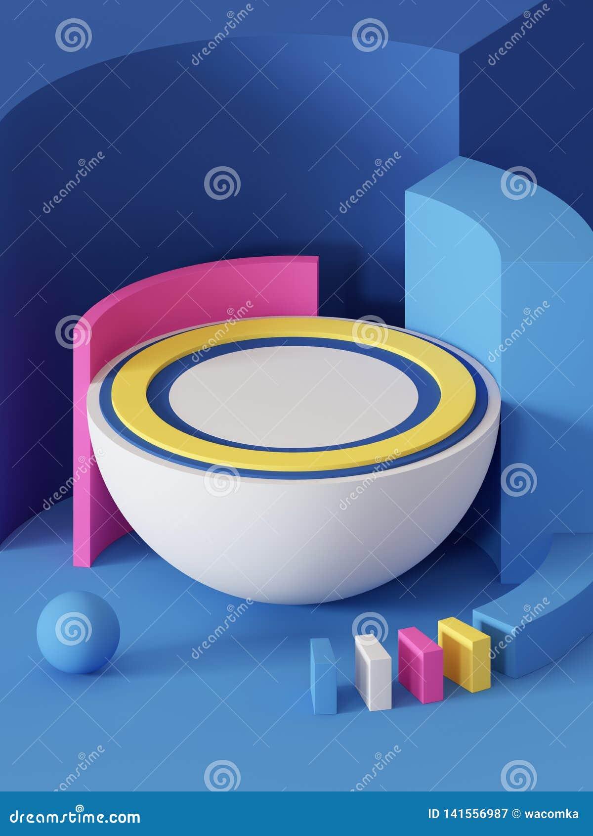 3d odpłacają się, abstrakcjonistyczny geometryczny tło, praforma kształty, zabawki, hemisfera, piłka, sektor, jaskrawi kolorowi b