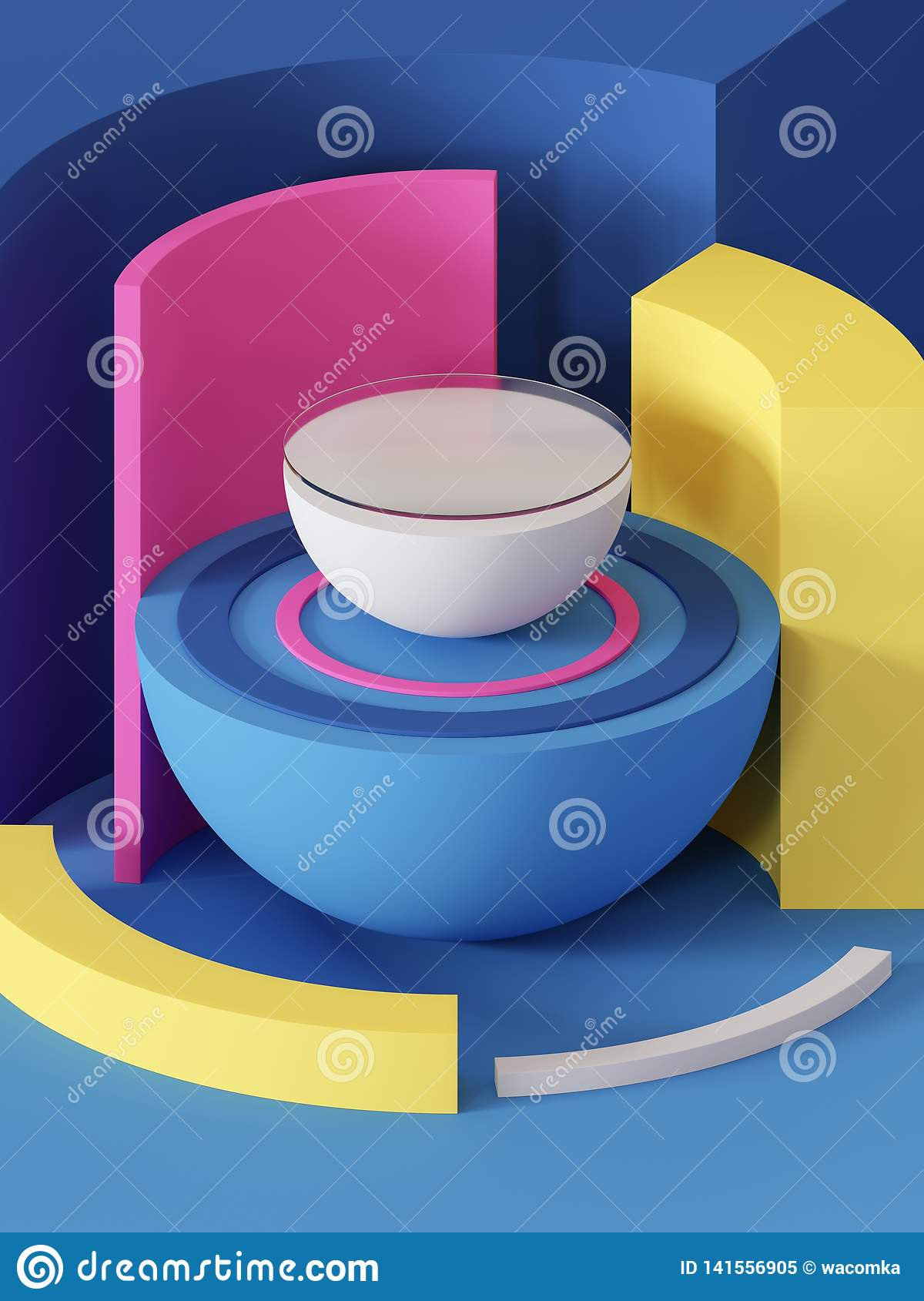3d odpłacają się, abstrakcjonistyczny geometryczny tło, praforma kształty, zabawki, hemisfera, sektor, asortowani kolorowi bloki