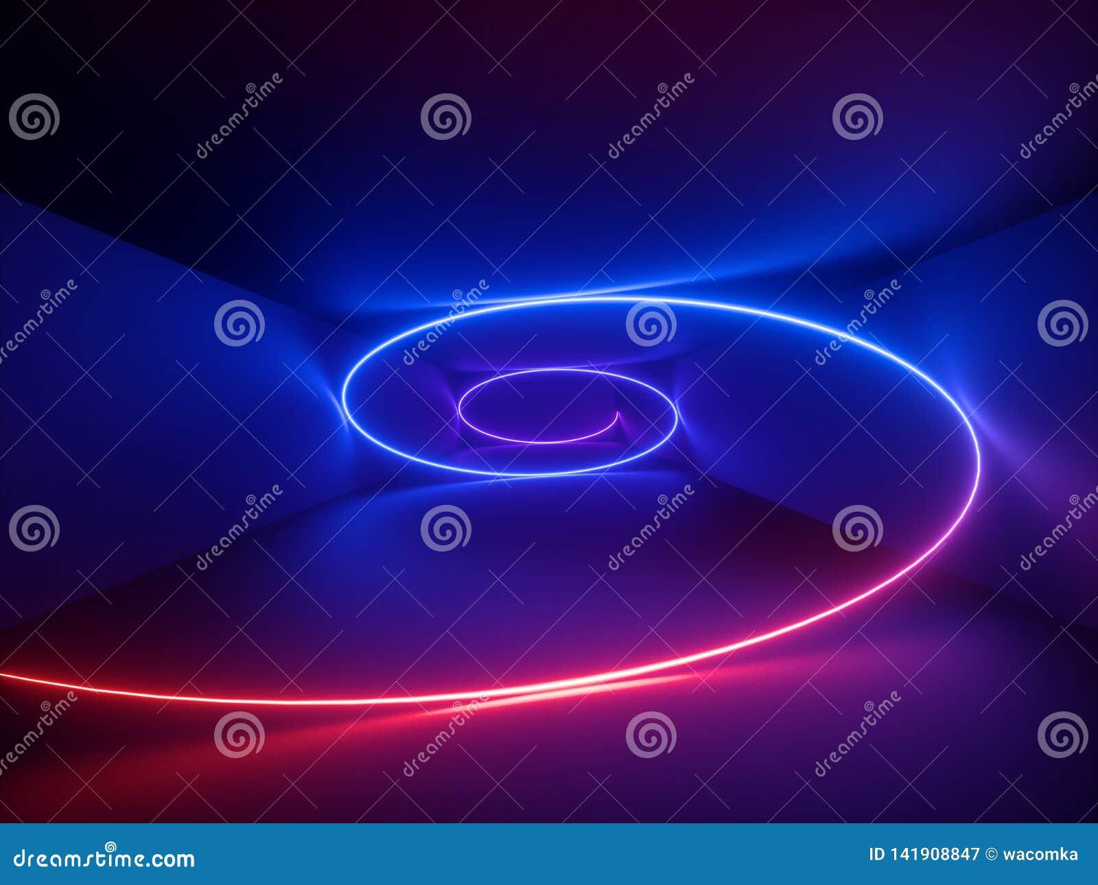 3d odpłacają się, czerwony błękitny neonowy helix, spirala, abstrakcjonistyczny fluorescencyjny tło, laserowy przedstawienie, noc