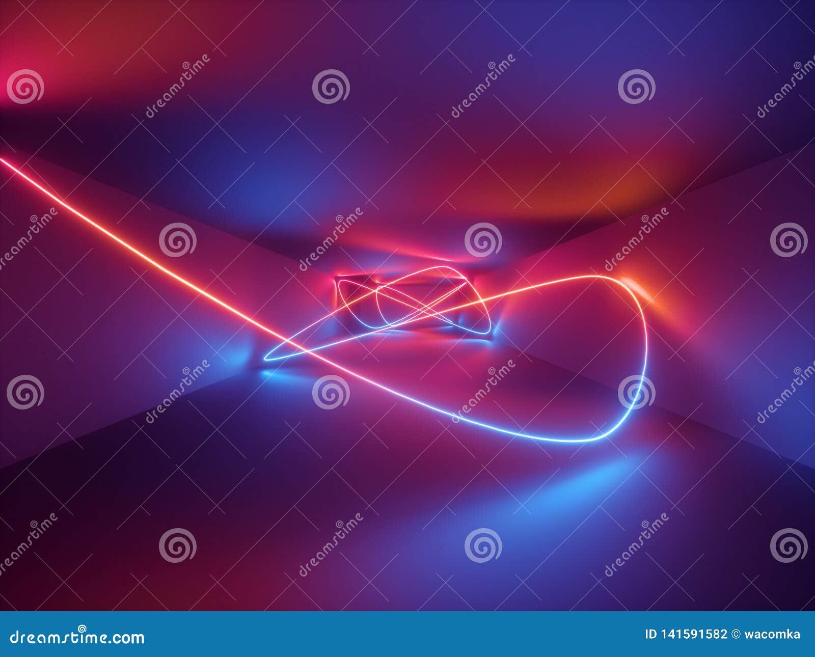 3d odpłacają się, laserowy przedstawienie, noc klubu wnętrza światła, czerwony błękitny neonowy, abstrakcjonistyczny fluorescency