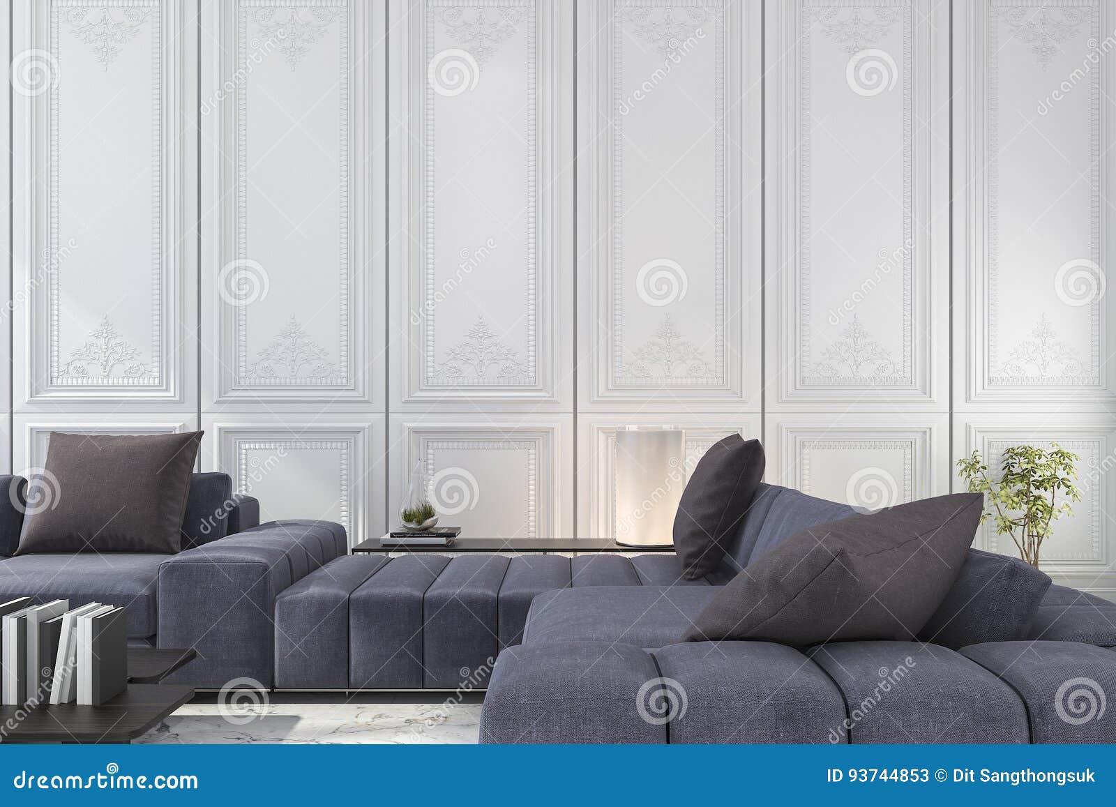 3d odpłaca się błękitną i brown kanapę ustawiającą w klasycznym luksusowym białym pokoju