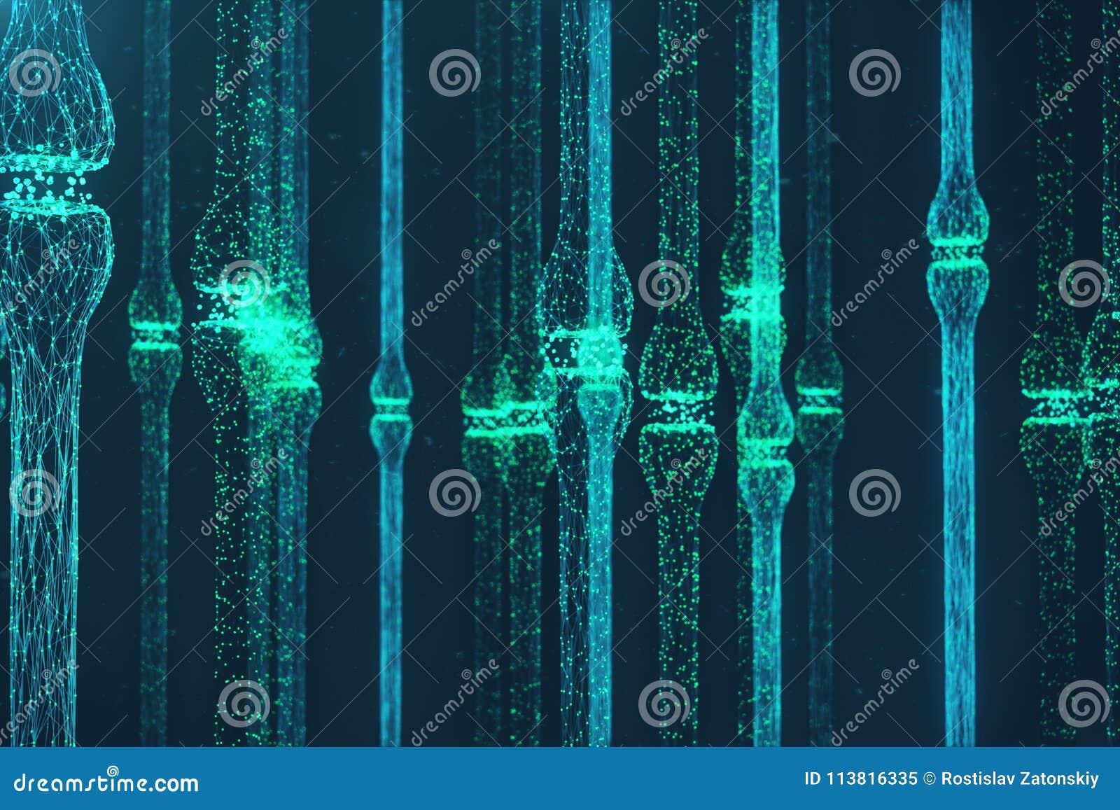 3D odpłaca się błękitnego rozjarzonego synapse Sztuczny neuron w pojęciu sztuczna inteligencja Synaptic przekaz linie