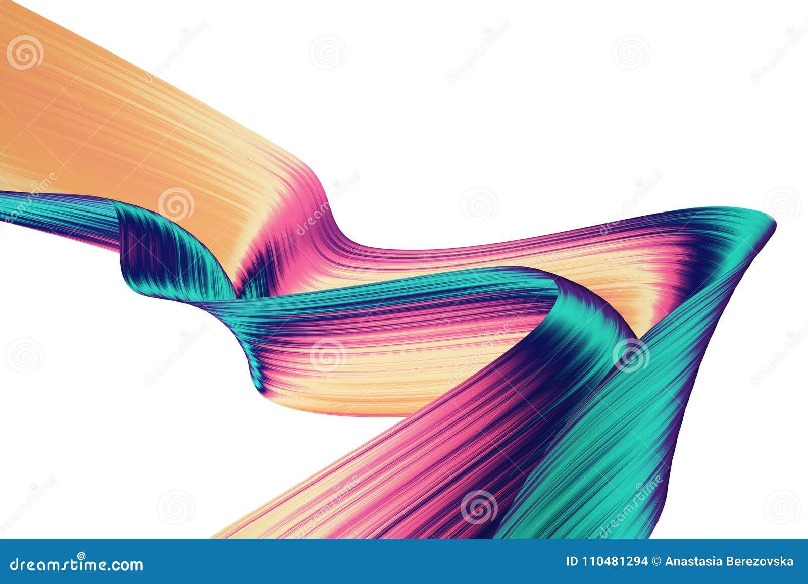 3D odpłacają się abstrakcjonistycznego tło Kolorowi kręceni kształty w ruchu Komputer wytwarzał cyfrową sztukę dla plakata, ulotk