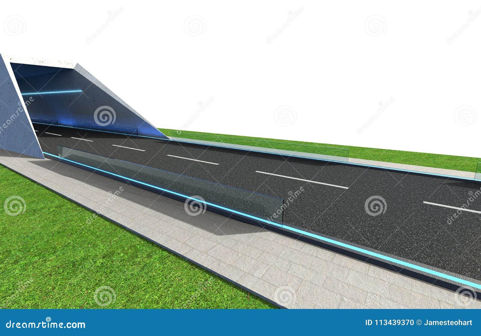 3d Odpłacają się drogę z tunelem i greenfield