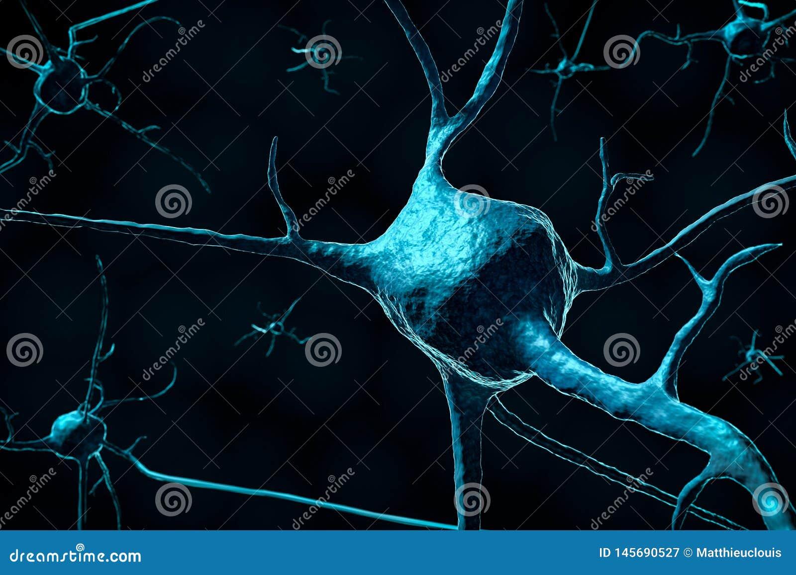 3d odpłacają się neuronu lub nerwu komórka w górę ciemnego tła z kopii przestrzenią dalej