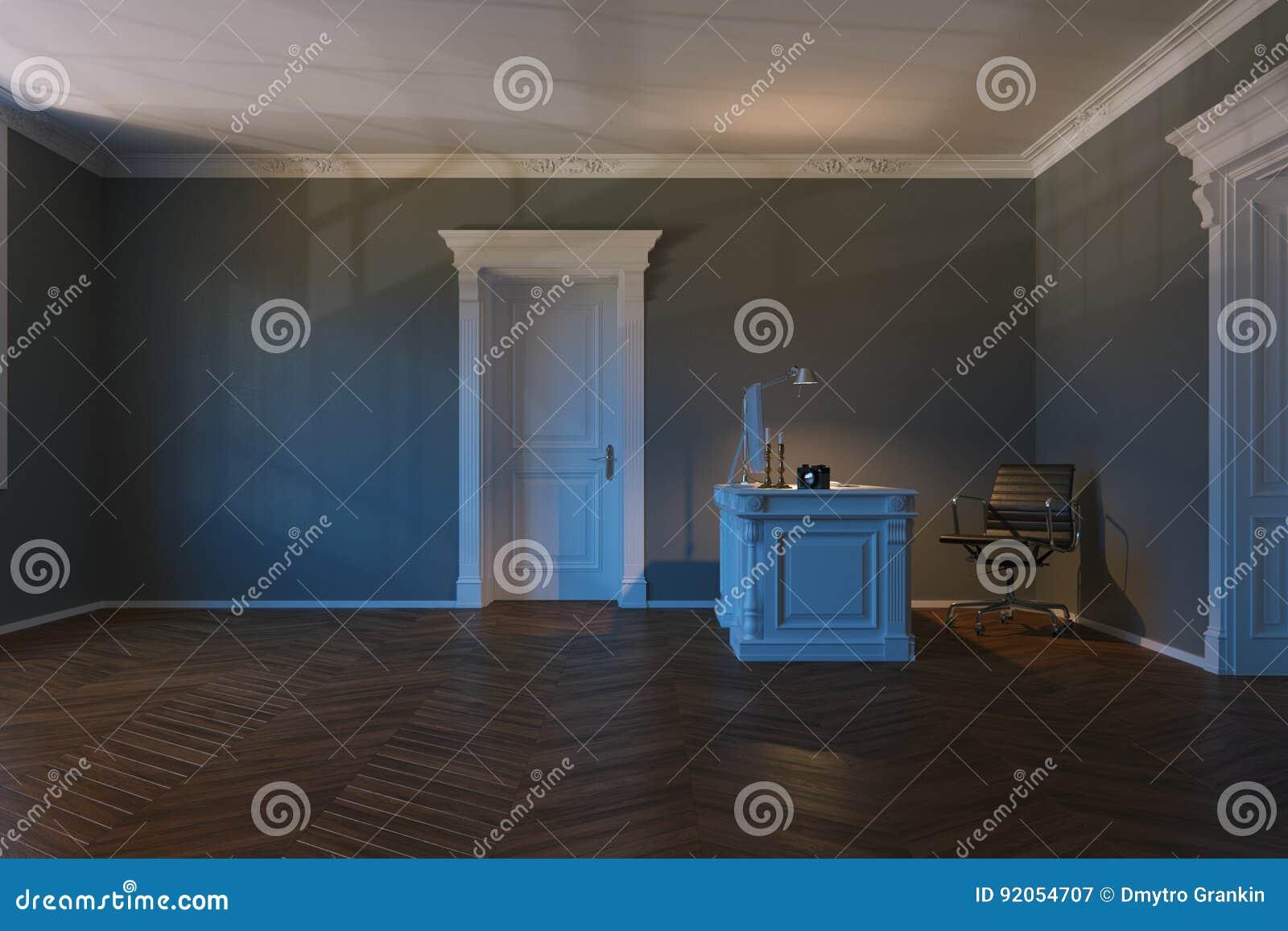 3d odpłacają się półmrok oświetleniowy biurowy wewnętrzny boczny widok