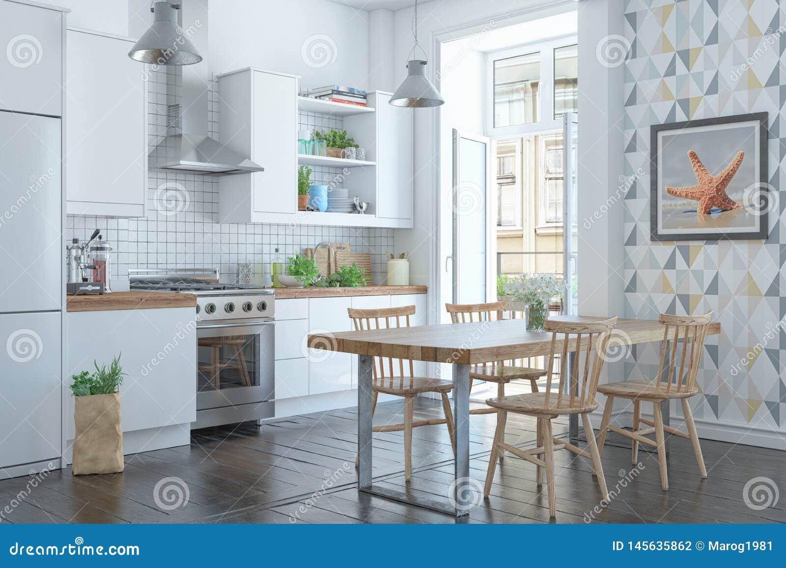 3d odp?acaj? si? Skandynawski mieszkanie z kuchni?