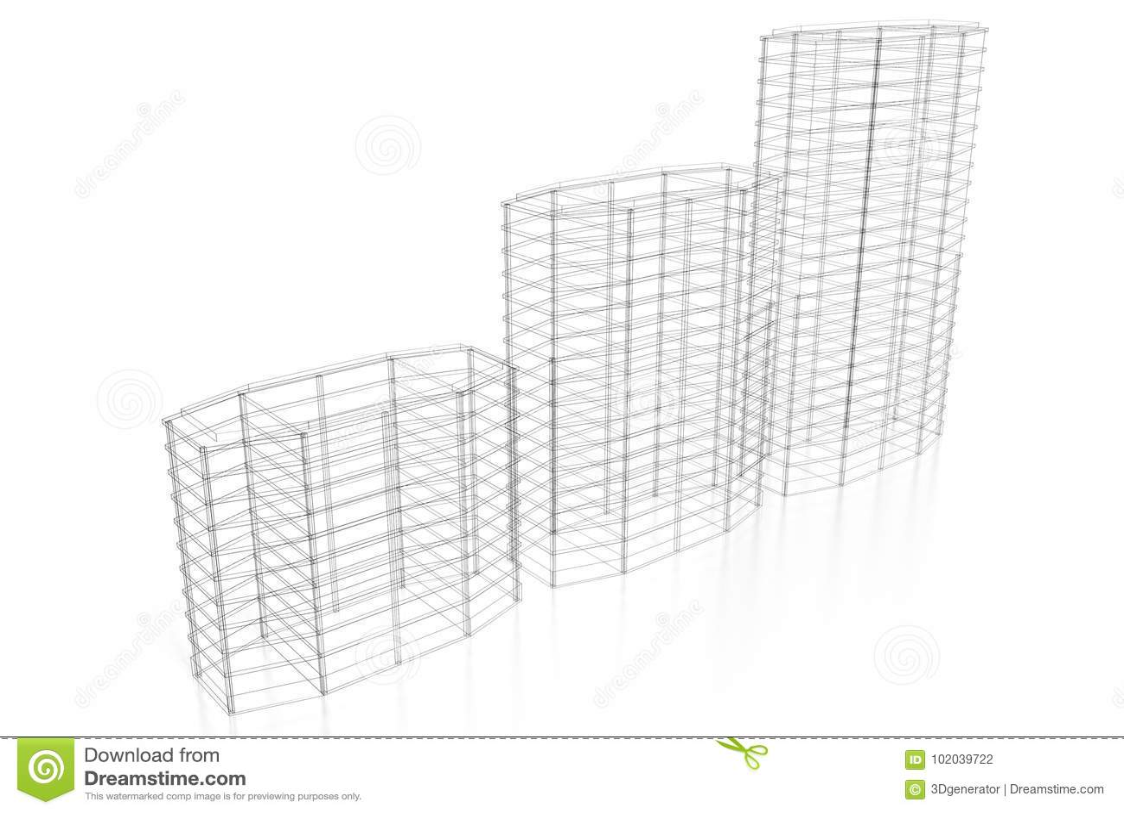 3d Office Buildings Wireframe Stock Illustration Illustration