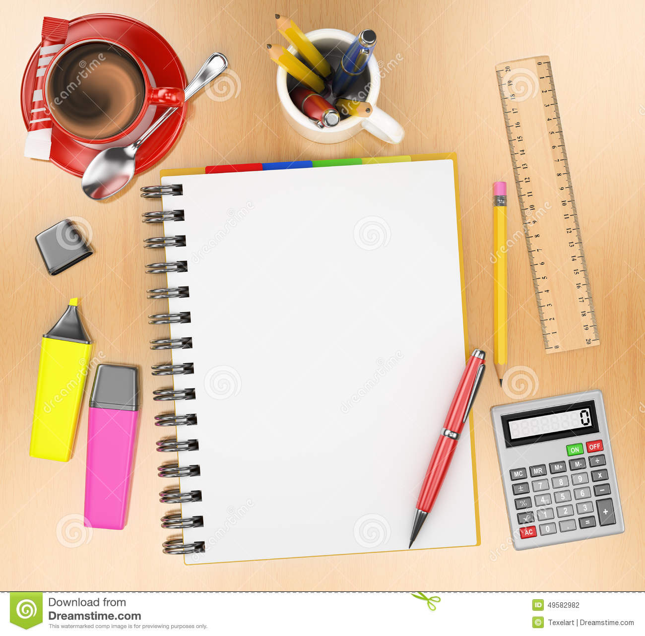3d Office Desktop Top View Stock Illustration Image