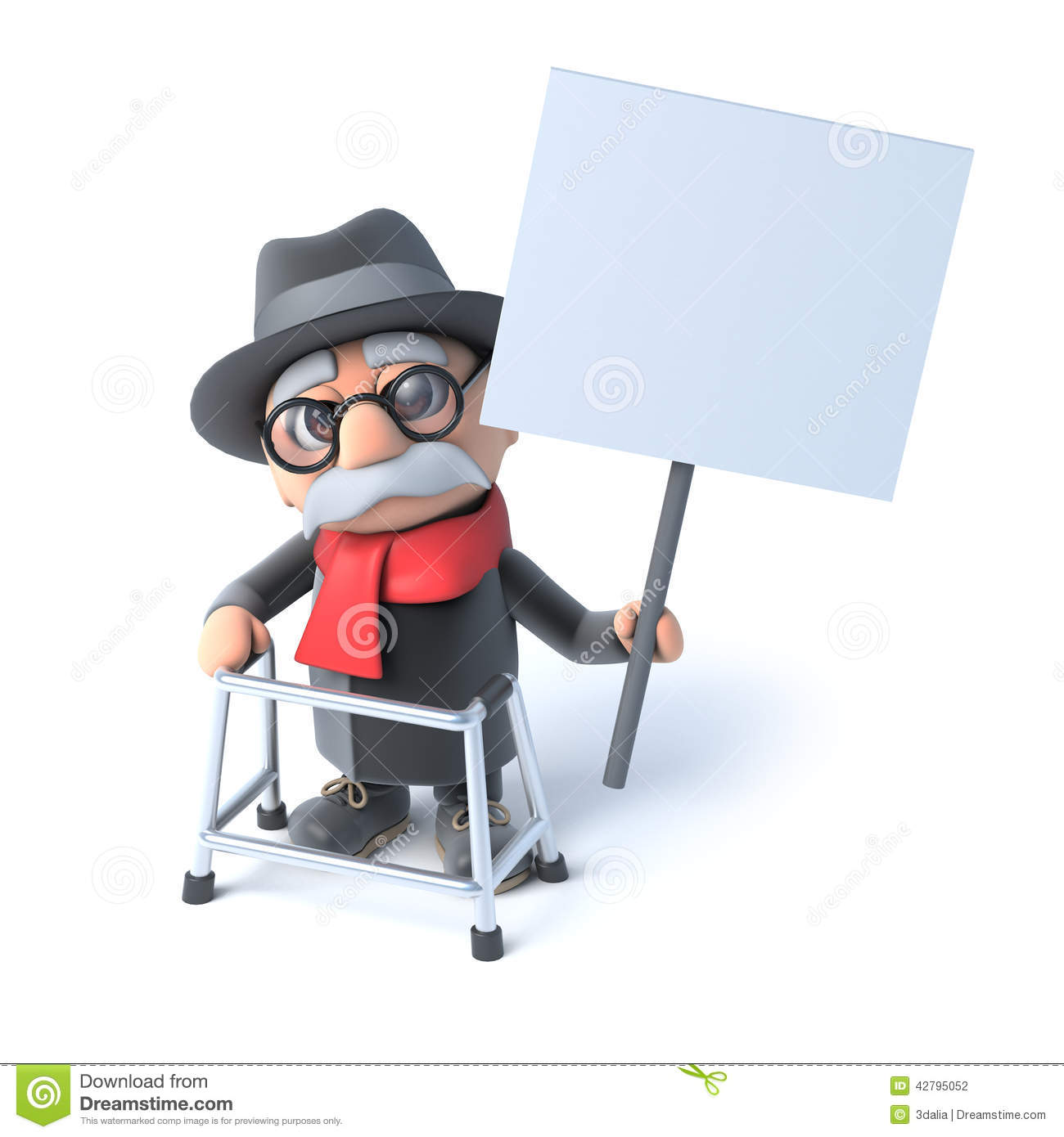 3d Old Man With Walking Frame Holding A Placard Stock Illustration ...