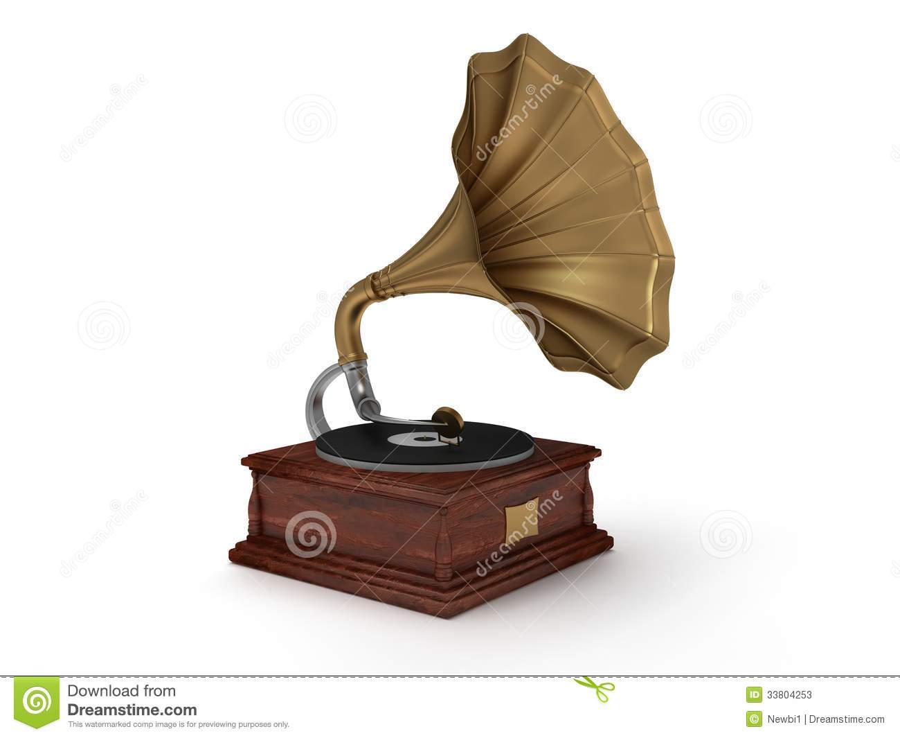 3d Old Vintage Gramophone On White Stock Photos Image