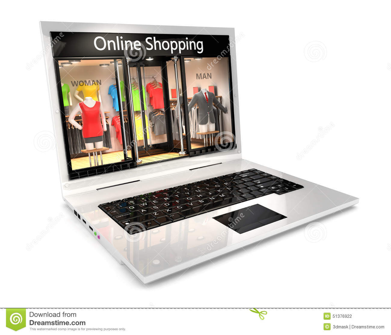 3d Online Shopping Concept Stock Illustration Image
