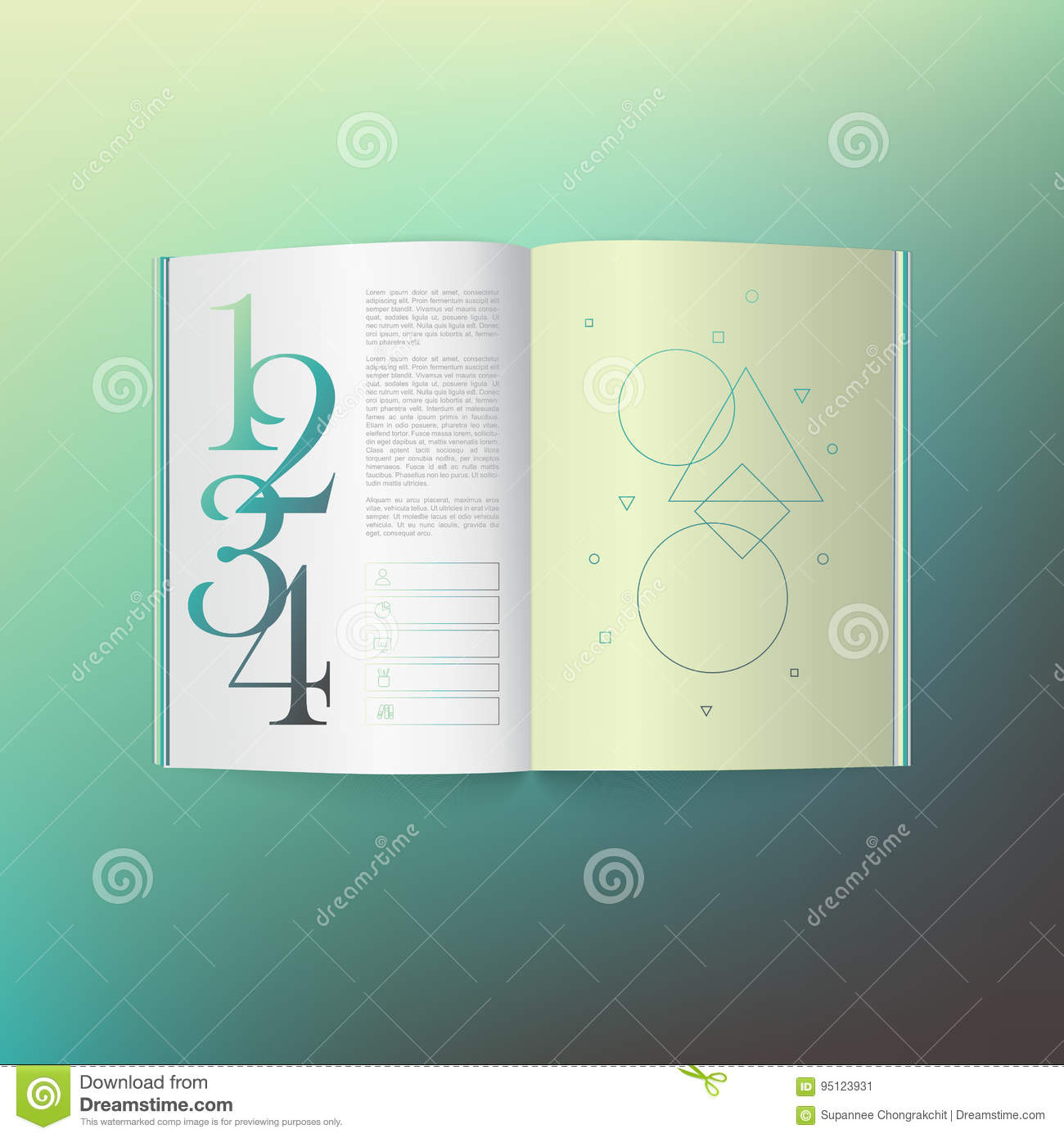 3d Open Book Top View With Soft Shadow On Gradient