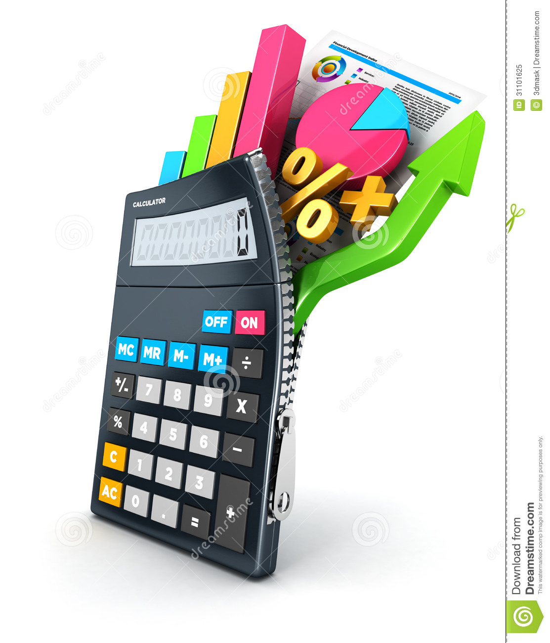 3d Open Calculator Royalty Free Stock Photo - Image: 31101625
