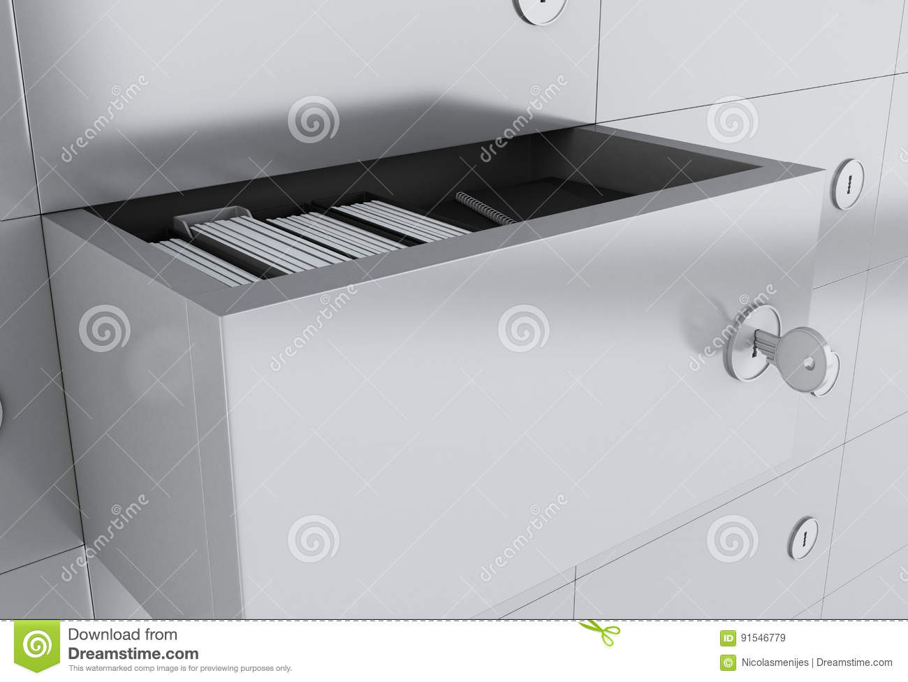 open file cabinet. 3d Open File Cabinet With Folders Stock Illustration - Of Management, Handle: 91546779