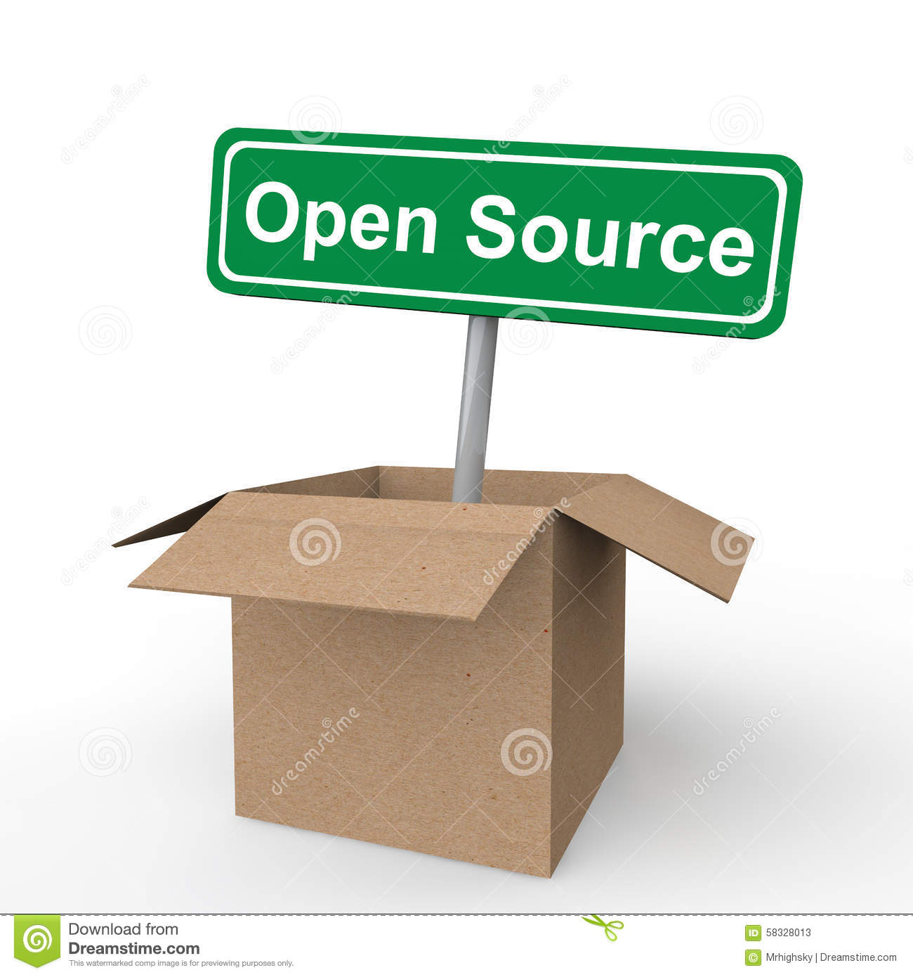 3d open source sign board in open cardboard box stock illustration image 58328013 Open source illustrator