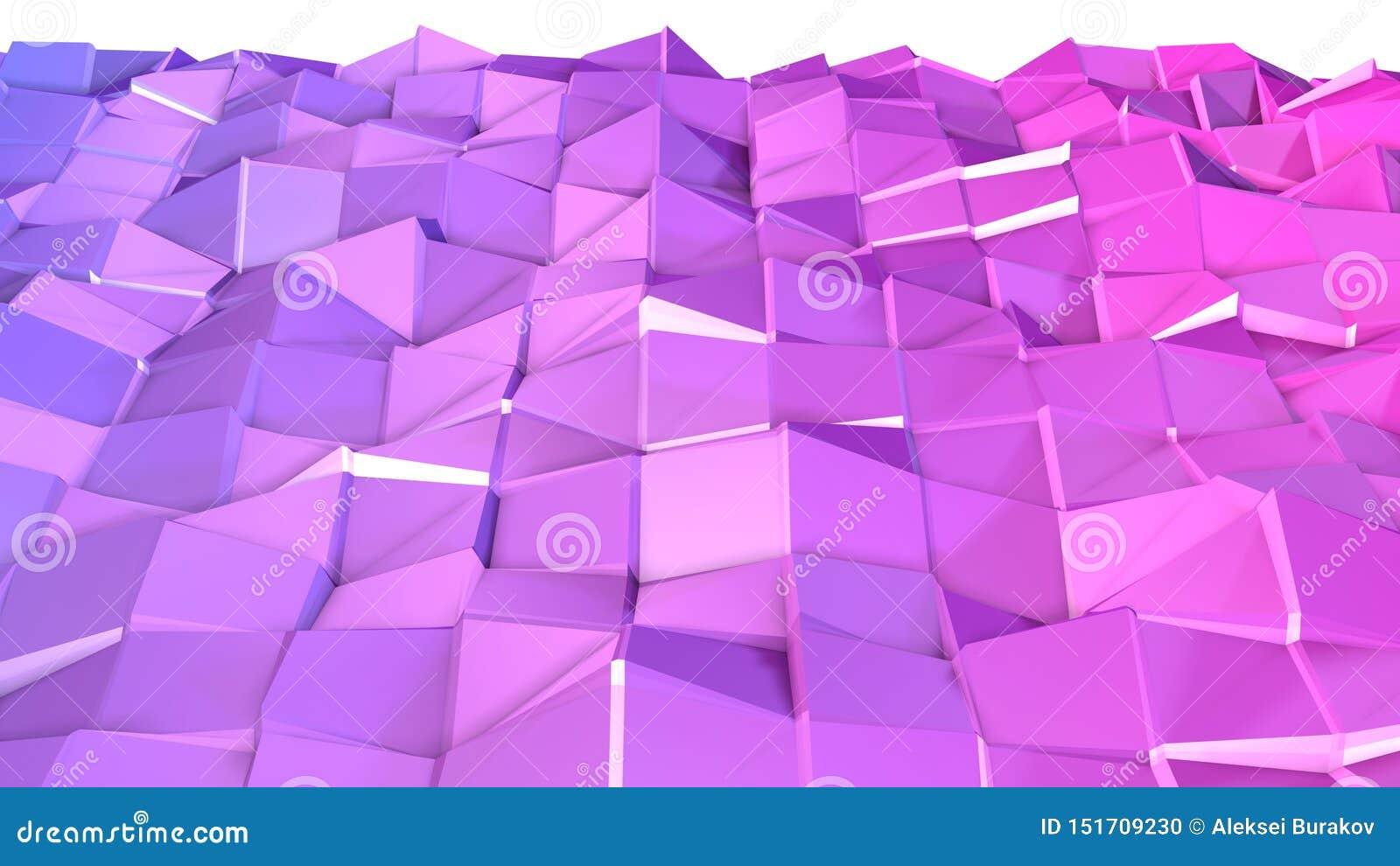 3d oppervlakte als 3d lage poly abstracte geometrische achtergrond met moderne gradiëntkleuren, rood blauw viooltje
