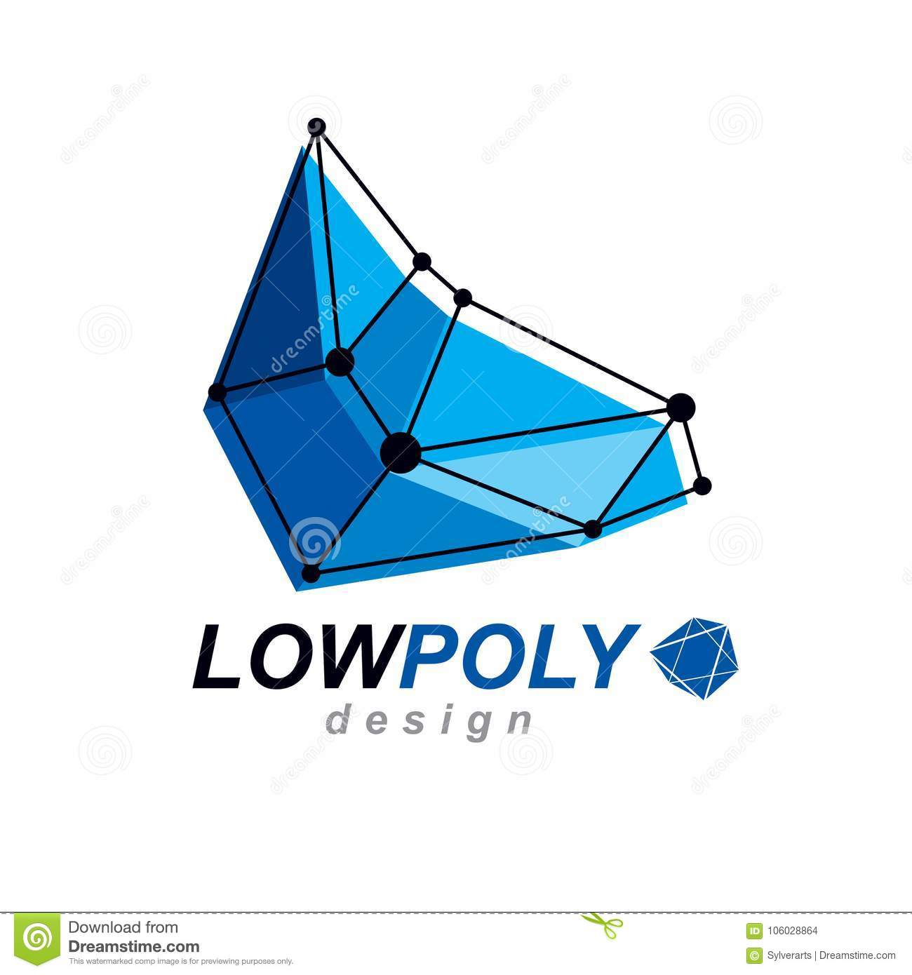 3d Origami Abstract Mesh Object Vector Design Element Diagram Free Download Preview