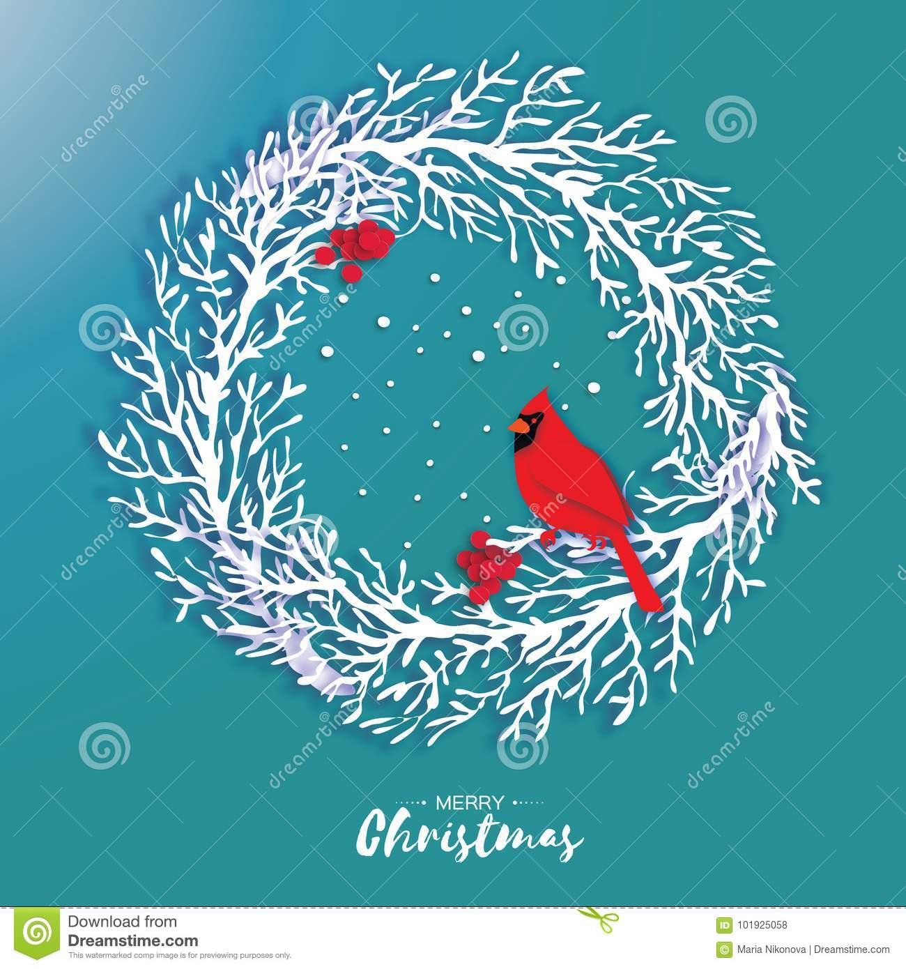 3D Origami Christmas Wreath With Red Cardinal And Rowan Berry Paper Cut Tree Branch Bird Happy New Year Winter