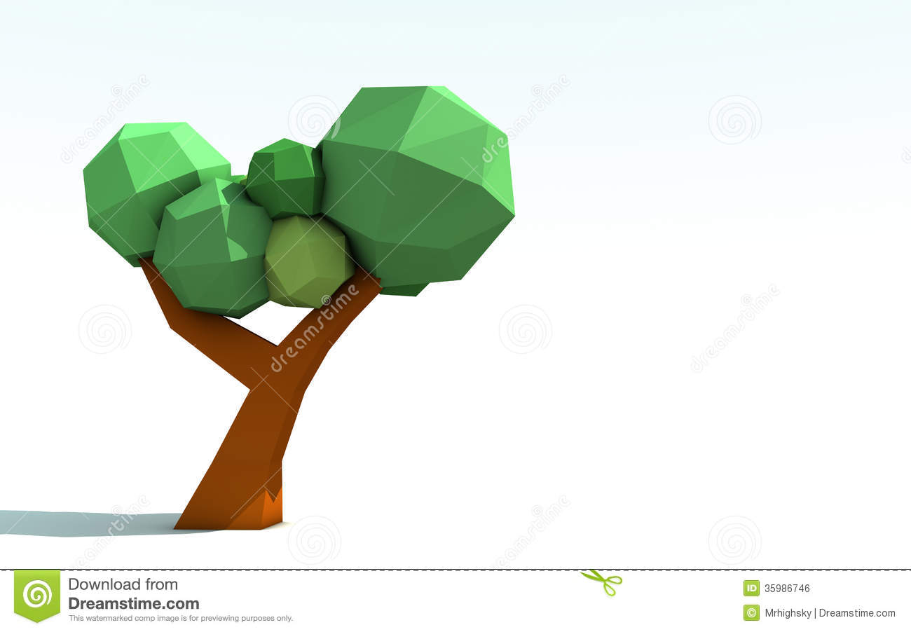 3D Origami Paper Tree Royalty Free Stock Image