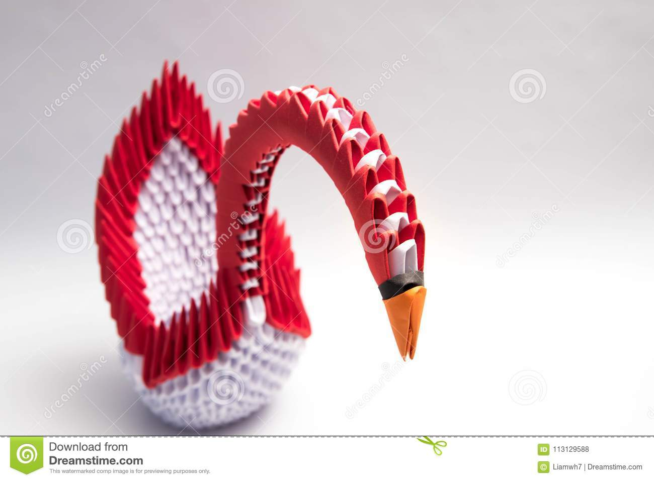 3d Origami Swan Bird Red Stock Photo Image Of Colorful 113129588