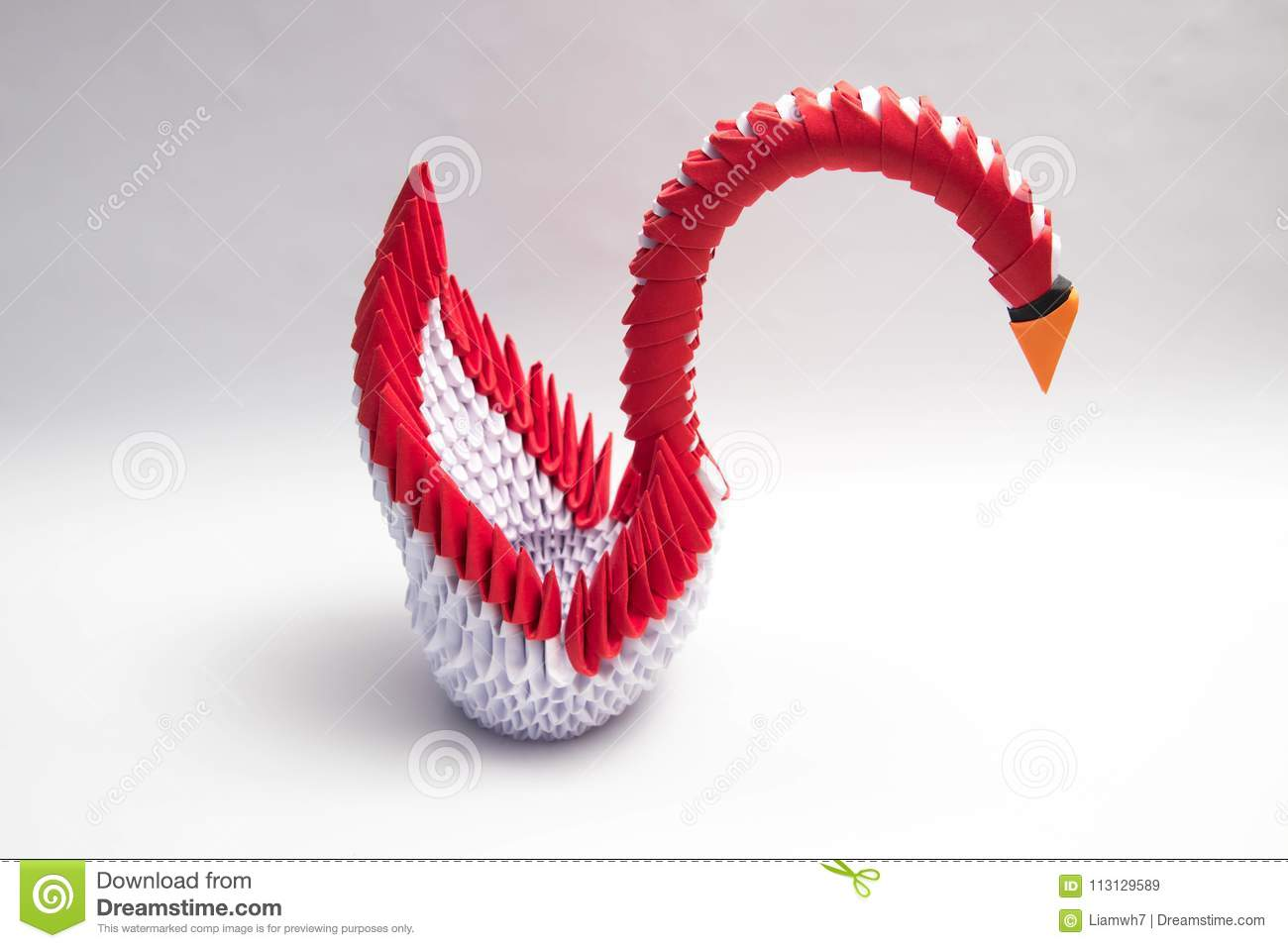 Download 3d Origami Swan Bird Red Stock Image Of