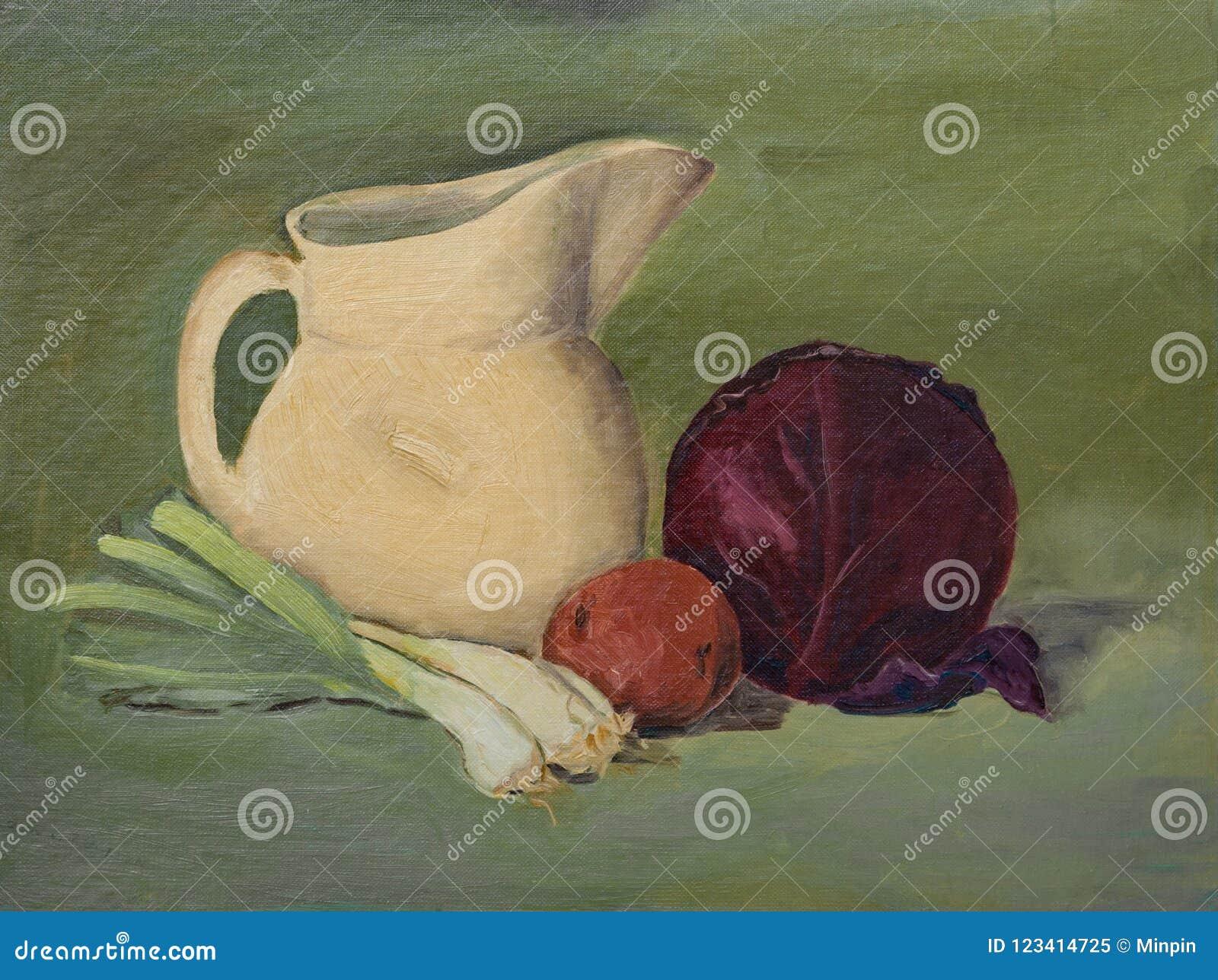 D original toujours peinture à l huile de la vie sur la toile : Légumes, lanceur