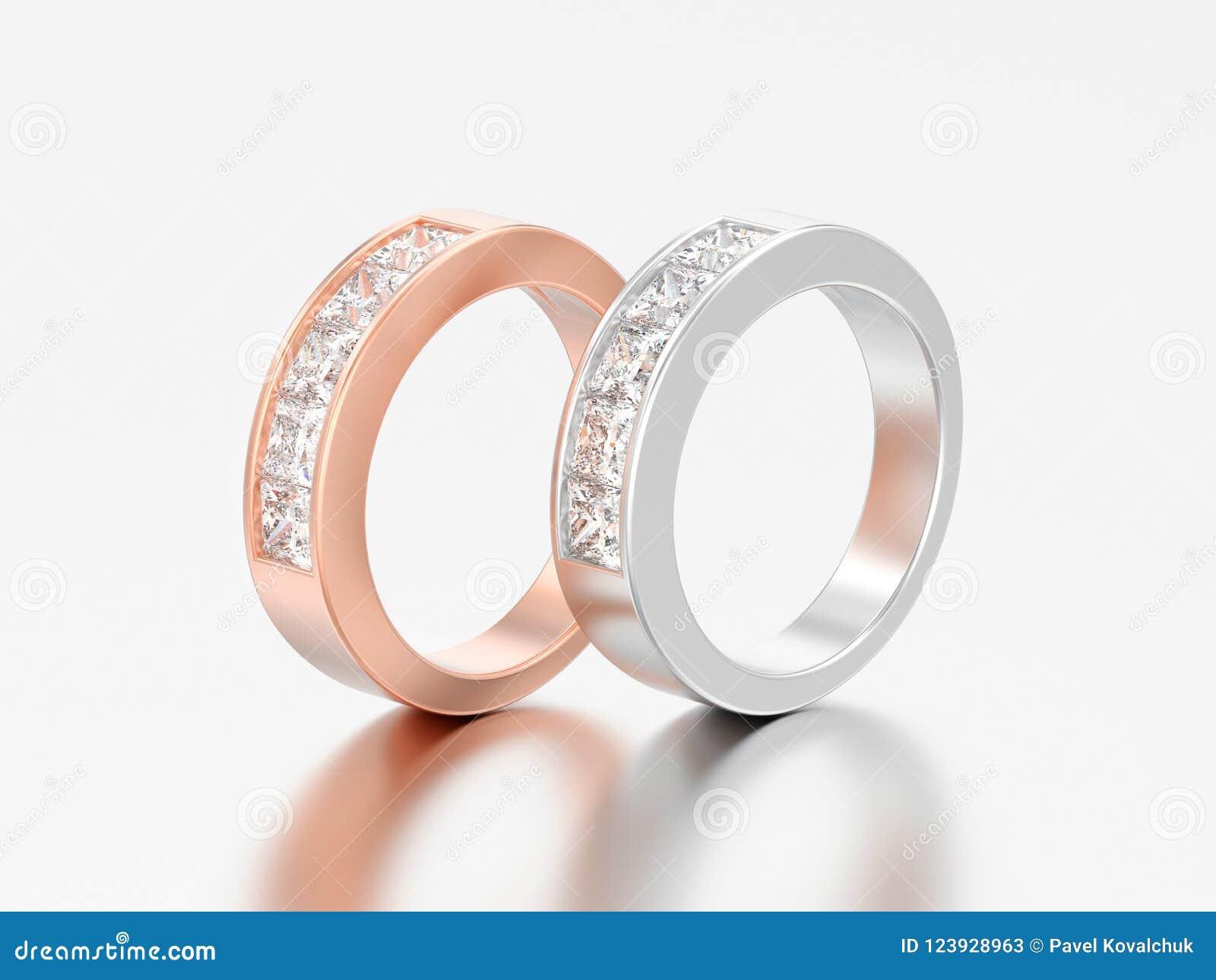 3D oro rosa e bianco del classico semplice dell illustrazione due o argento