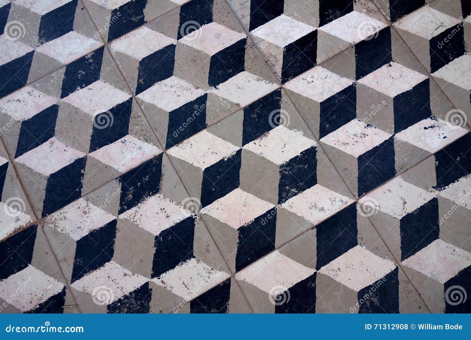 3d oude tegel van de kubusvloer stock foto afbeelding 71312908 - Oude patroon tegel ...