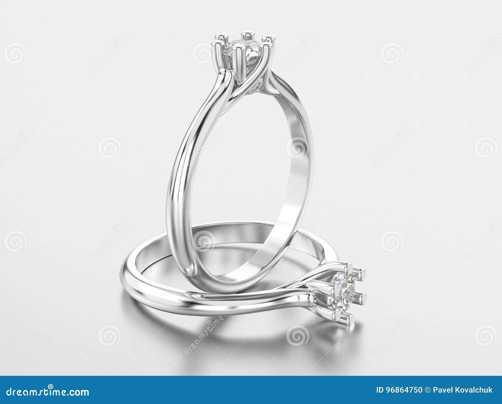3D ouro branco da ilustração dois ou anel clássico de prata com diamo