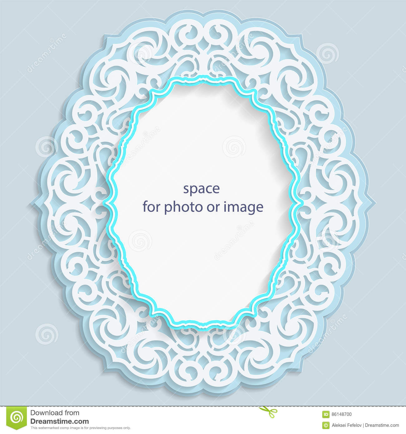3D Oval Frame For A Photo Or Picture, Vignette With Ornaments, Lace ...