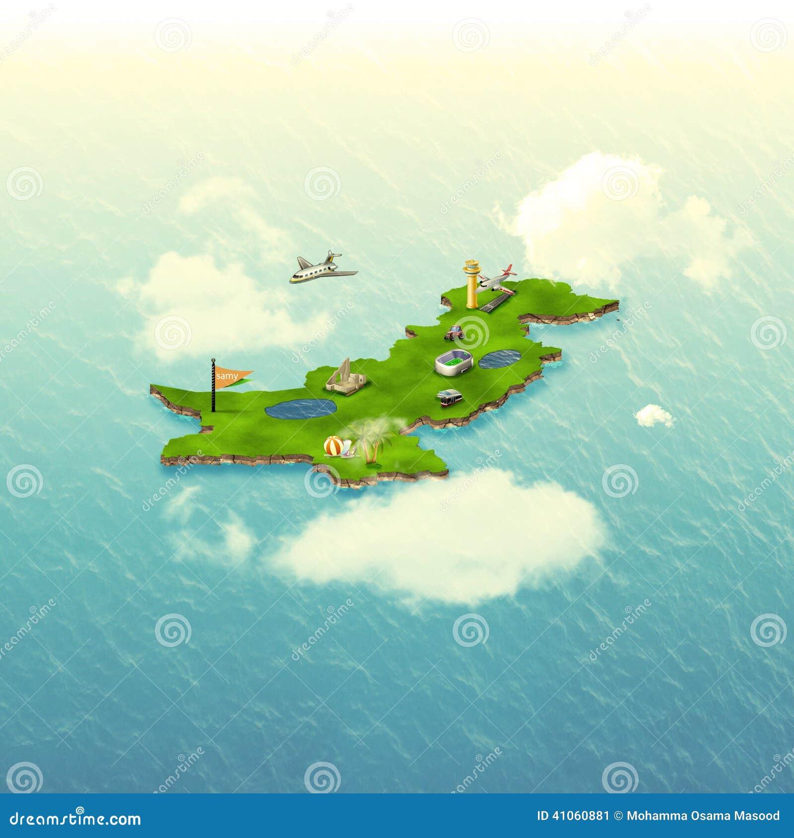 3D Pakistan map Structure stock illustration  Illustration