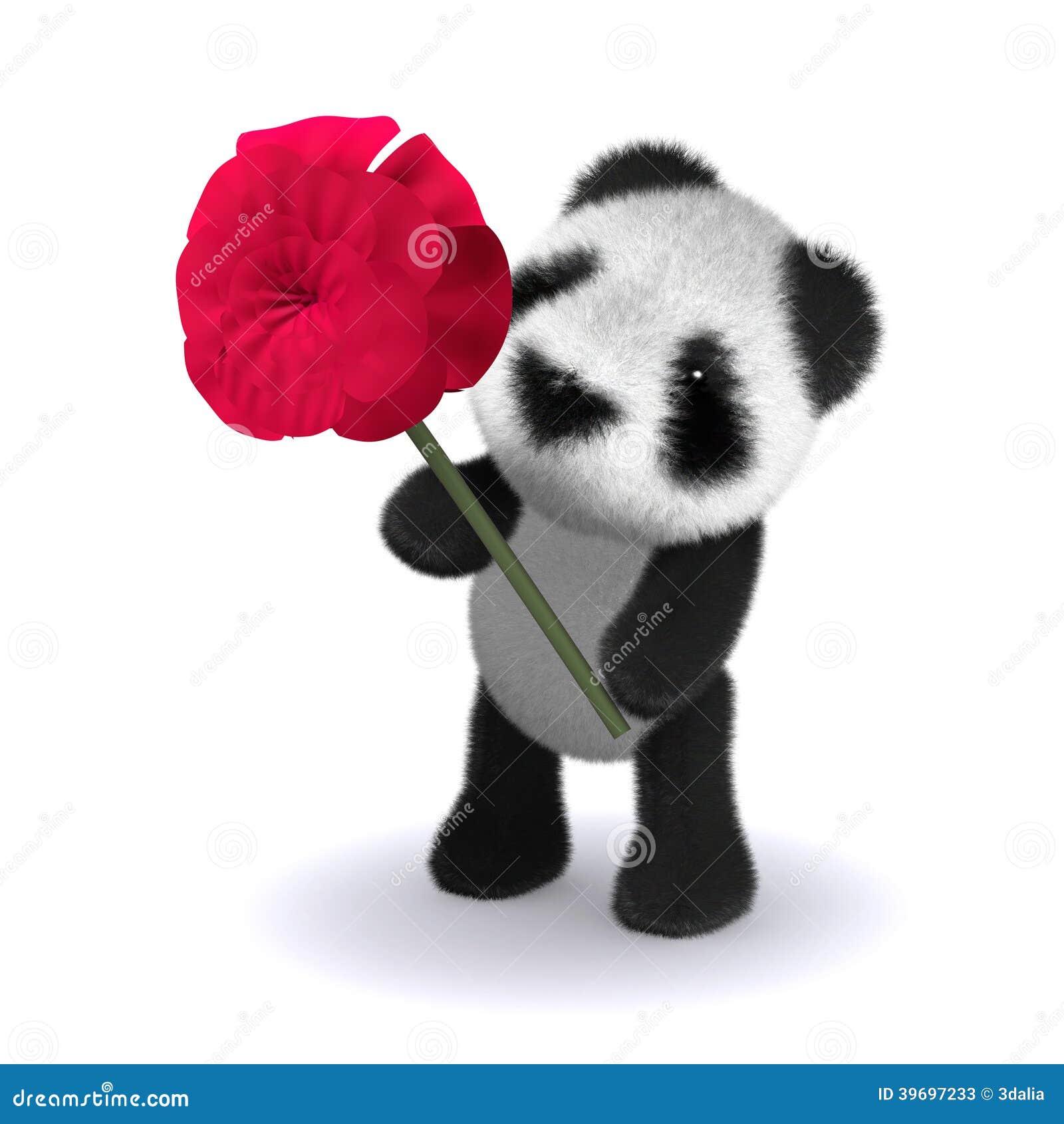3d Panda Rose Stock Illustration Image 39697233
