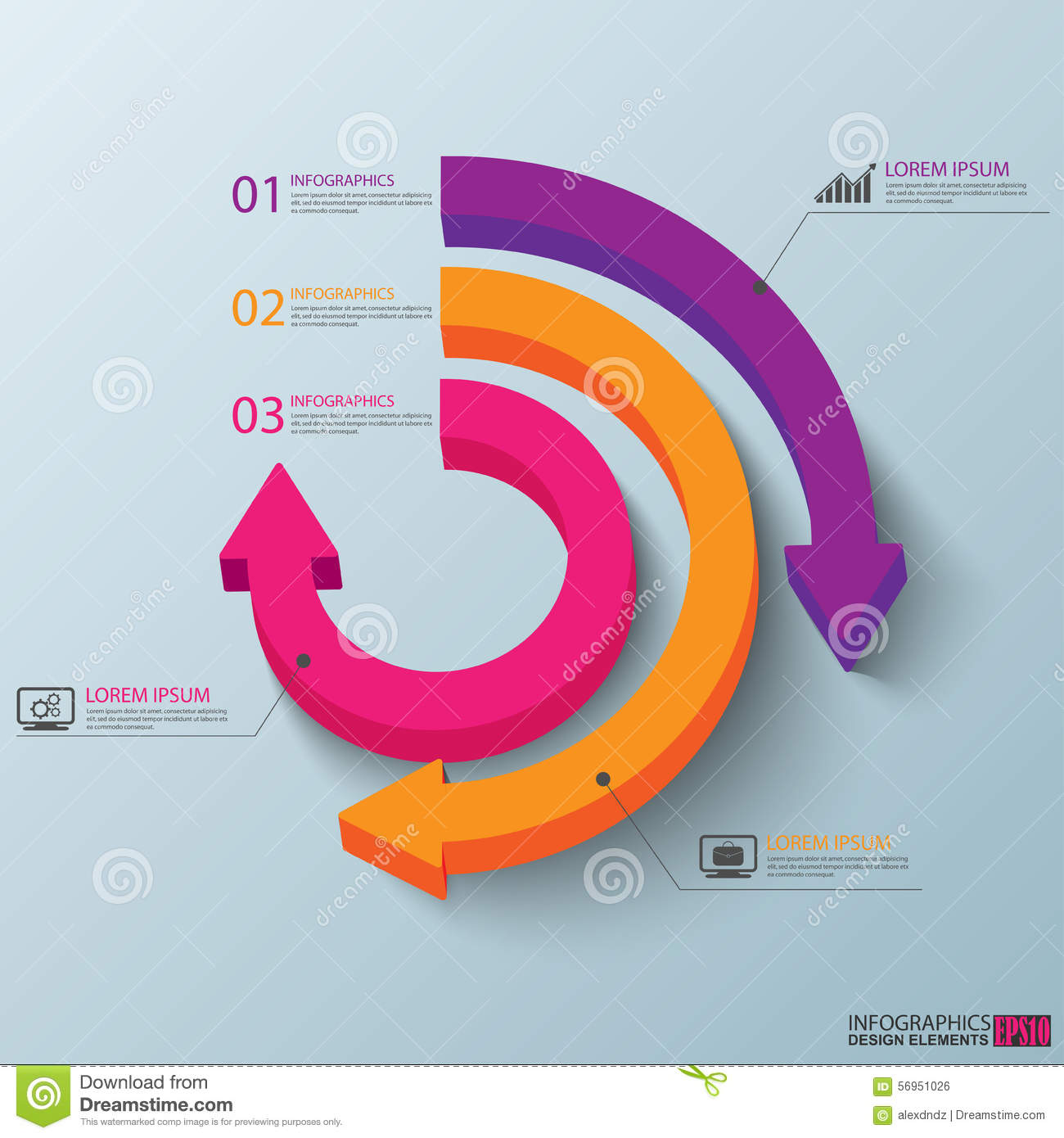 3D papel abstrato Infographic