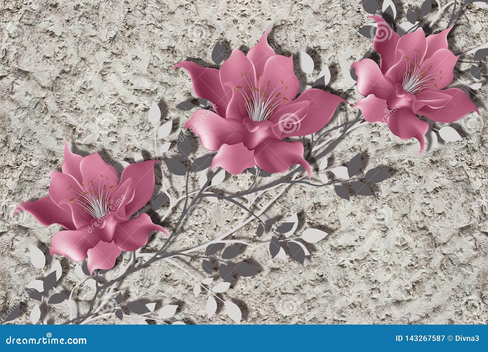 3d papel pintado, flores de la magnolia en la pared áspera del yeso