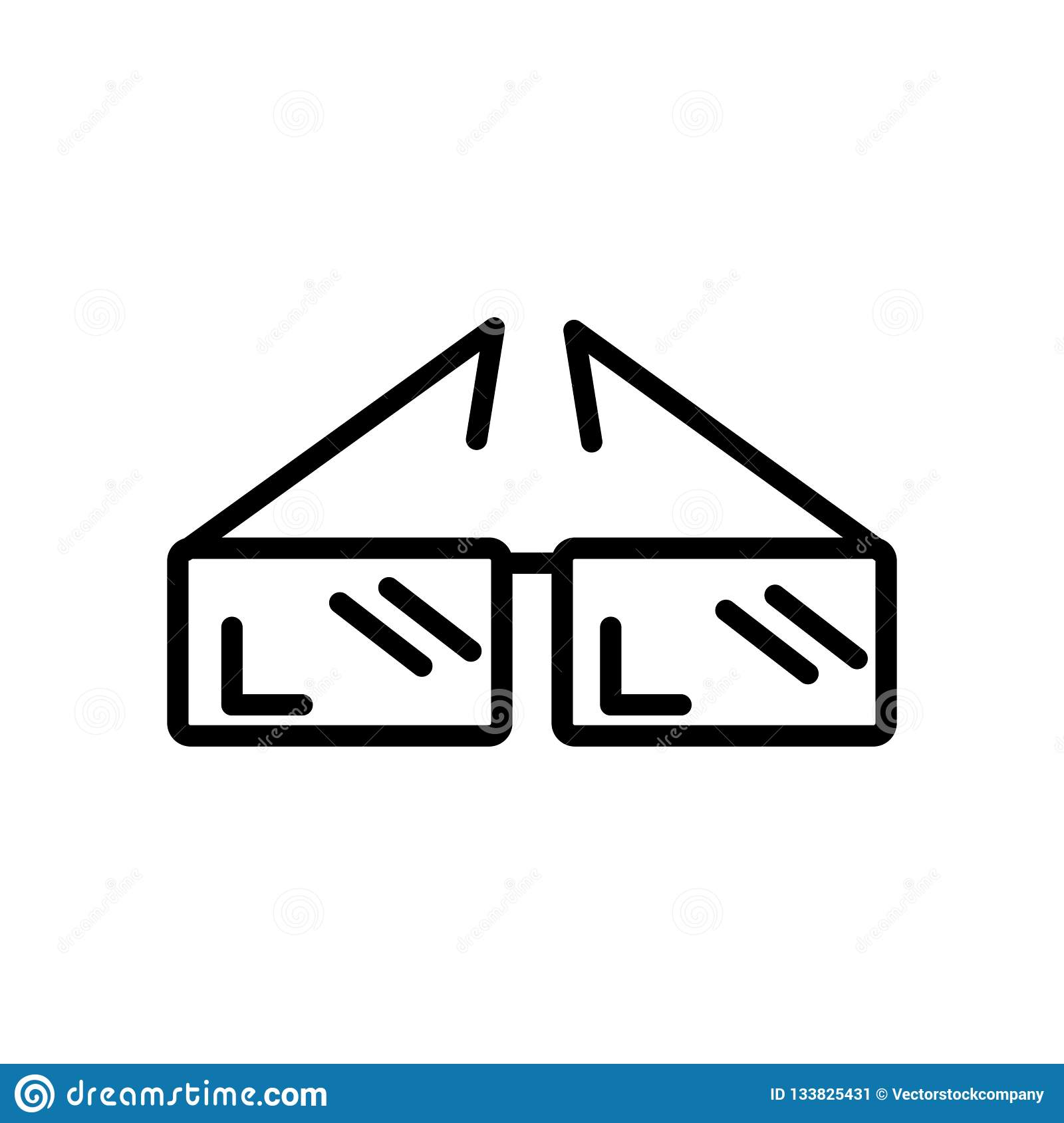3d Paper Glasses Icon Vector Isolated On White Background 3d Pa Stock Vector Illustration Of Black Dimensional 133825431