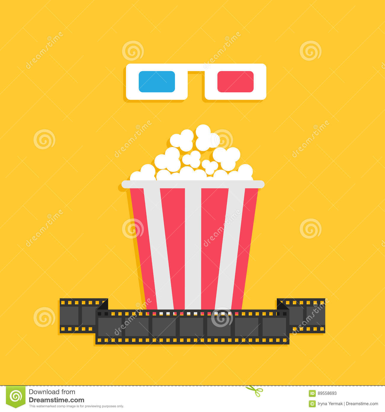 3d glasses and movie film strip royalty free stock for 3d flat design online