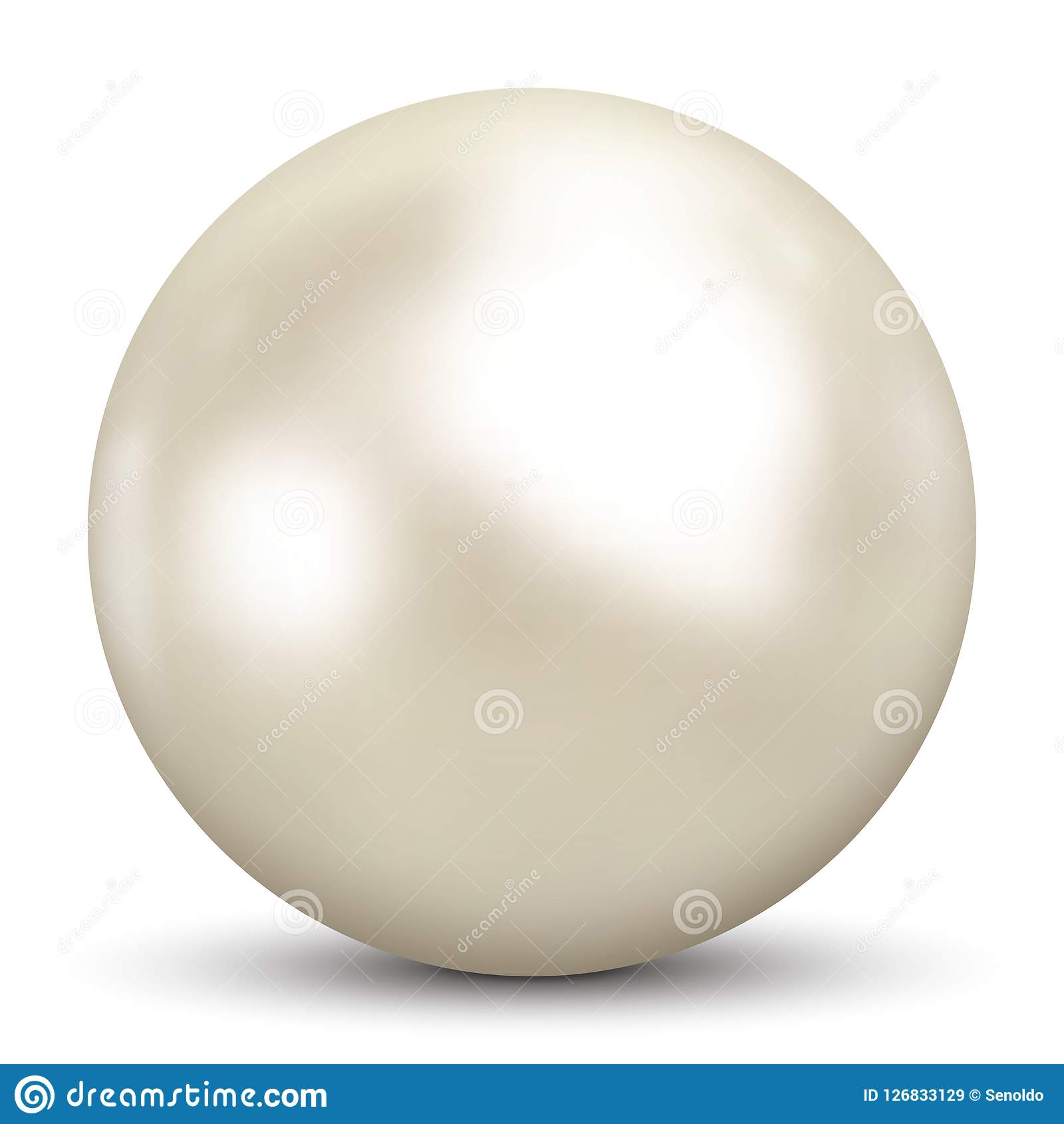 3D Pearl On White Background And Smooth Shadow