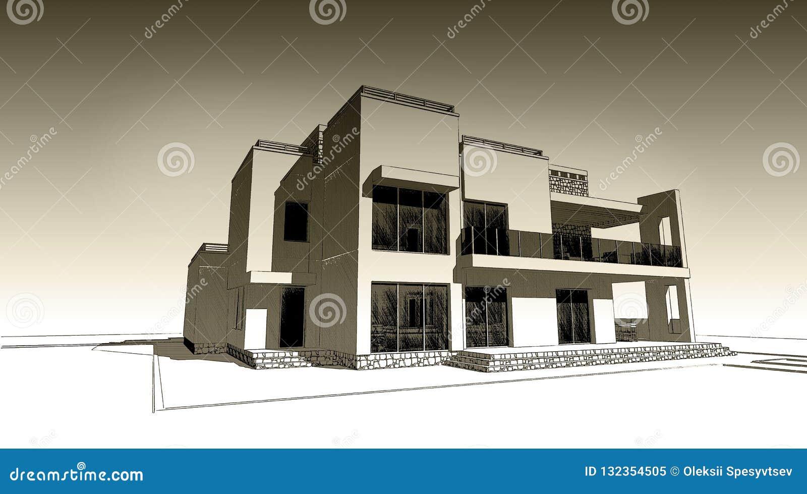 3d Pencil Sketch Illustration Of A Modern Building Exterior Facade