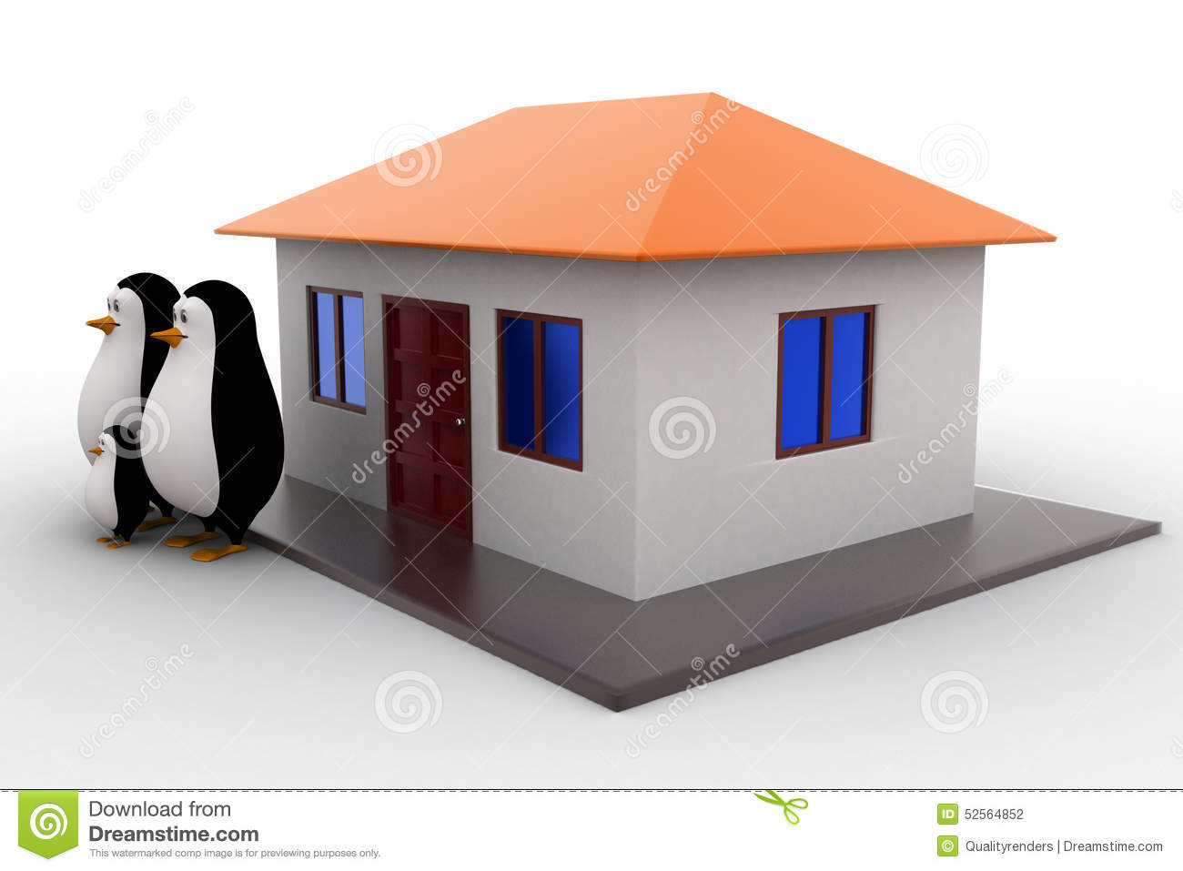 3d penguin family with house concept stock illustration for Right angle house