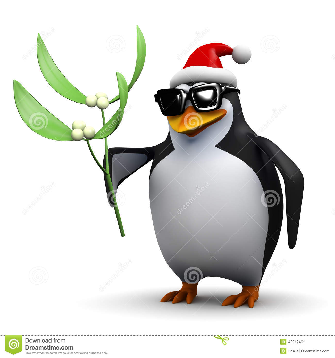 Penguin Holding Some Mistletoe Render Wearing Santa Claus Hat Christmas Vector