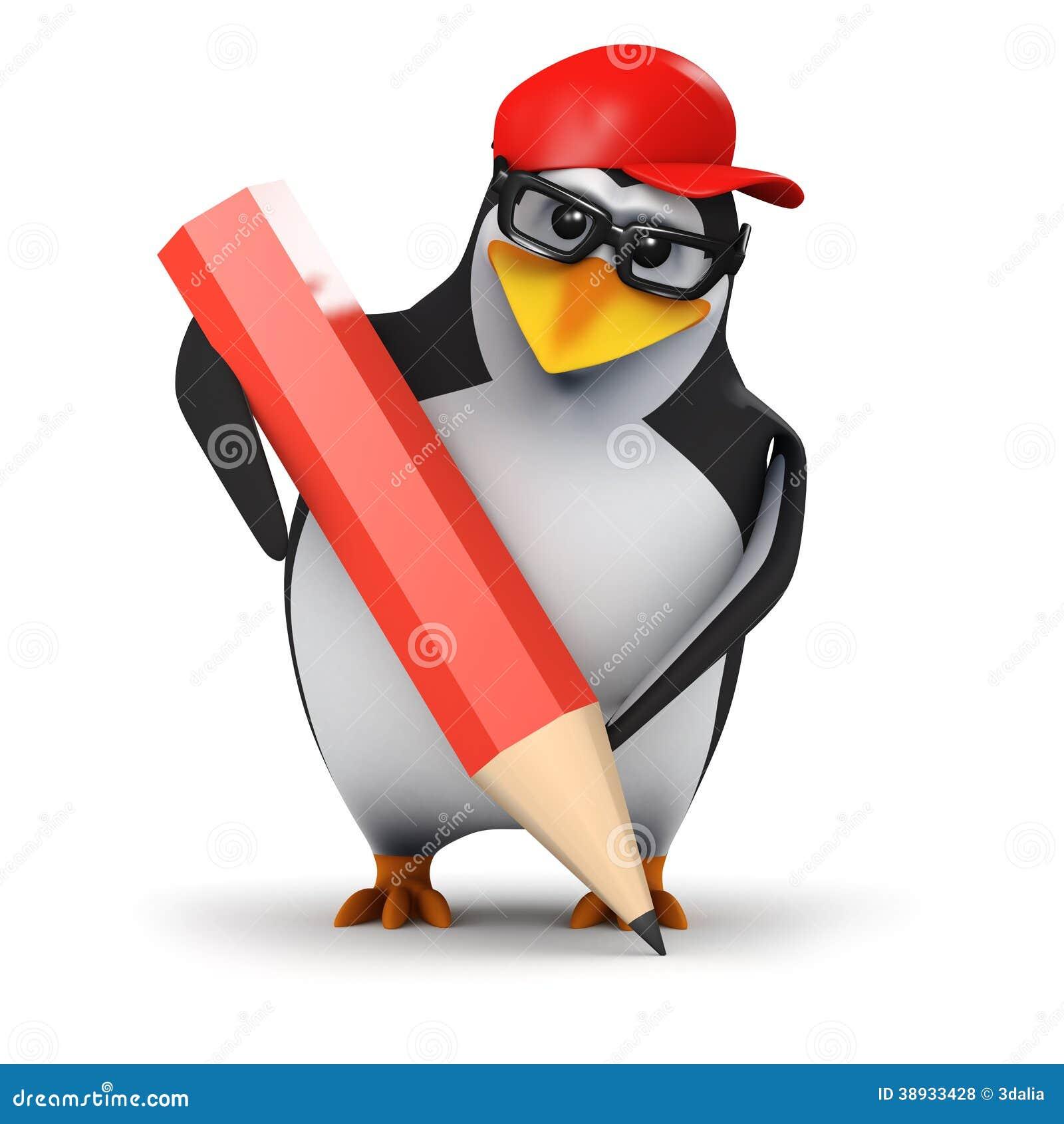 3d penguin pencil stock illustration  image of bird  animal