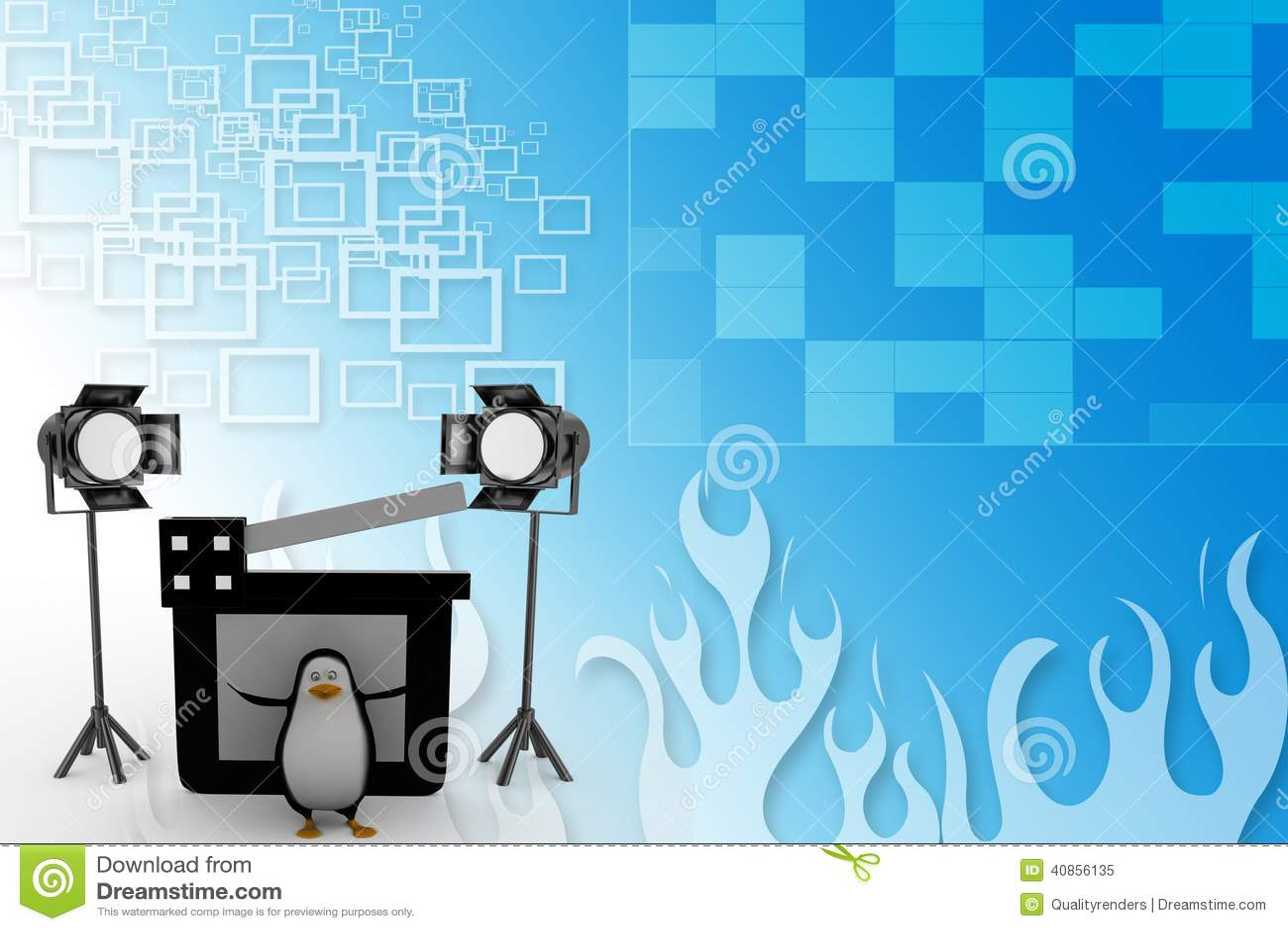 3d Penguin With Studio light ,movie clapper on a film reel illustration