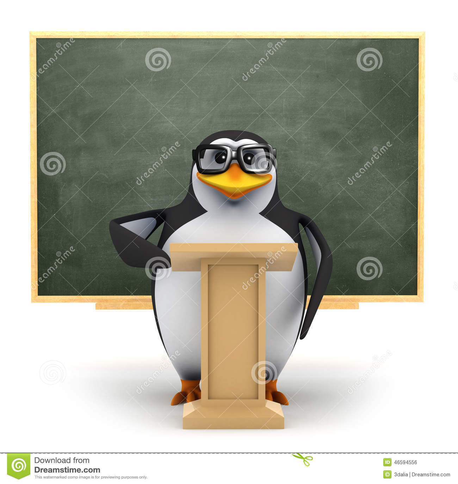 3d Penguin teaches the class