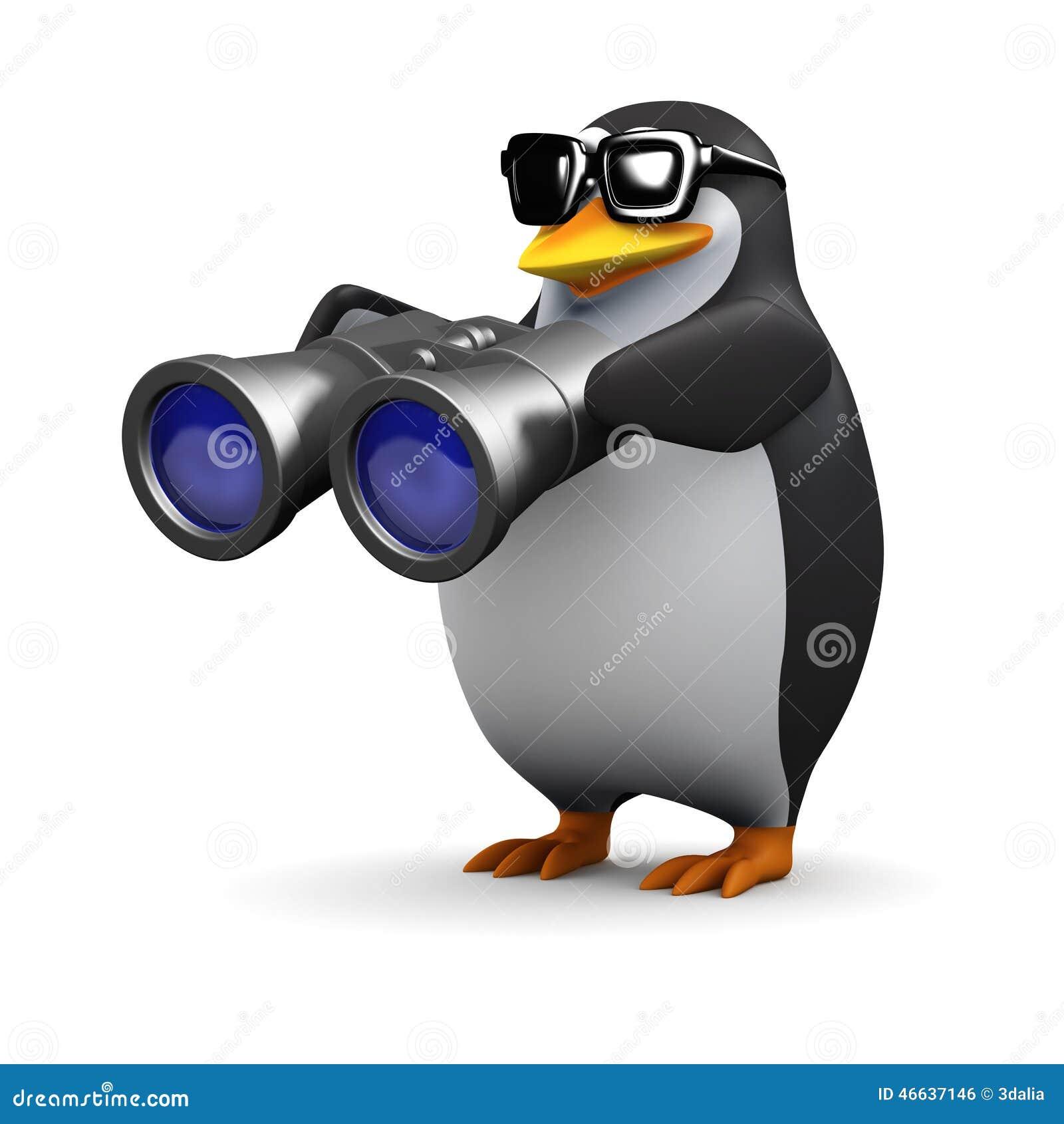 3d Penguin Using Binoculars Stock Illustration ...