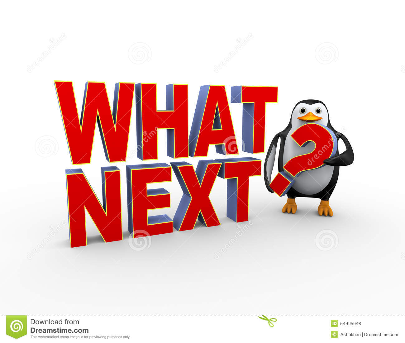 Color Trends What S New What S Next: 3d Penguin With What Next Question Stock Illustration