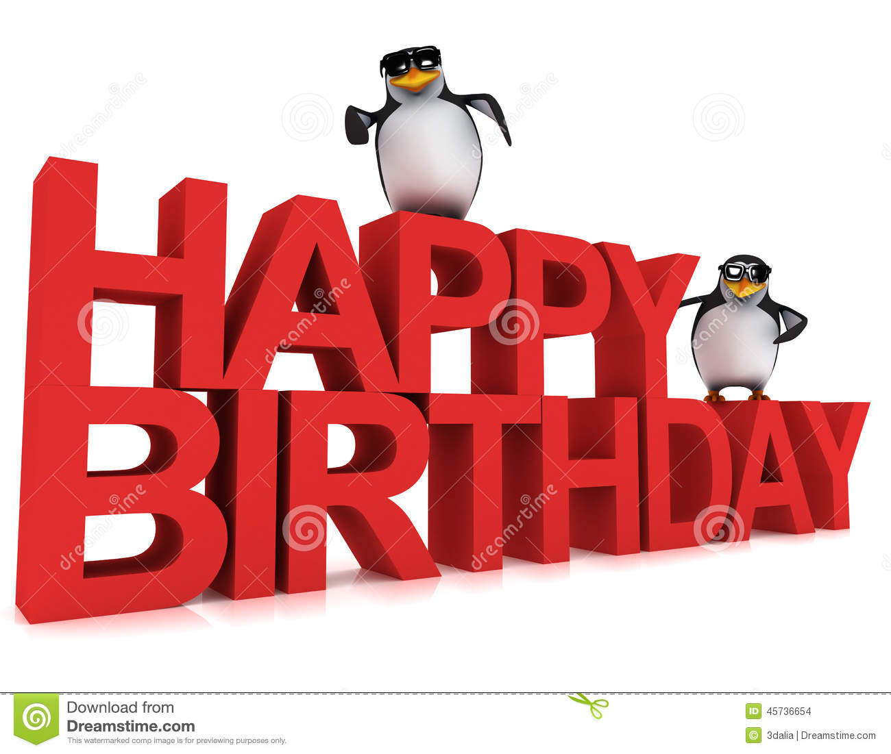 3d Penguins Say Happy Birthday Stock Illustration