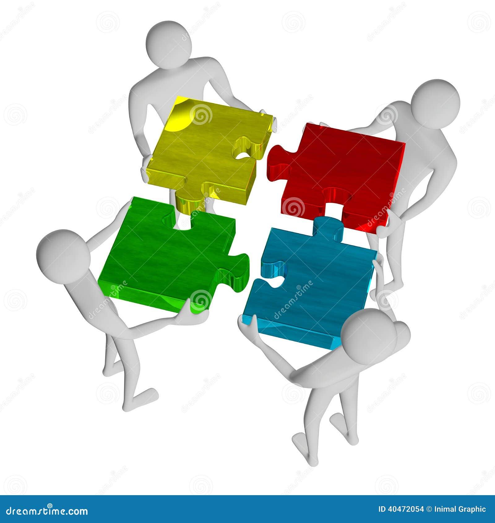 3d people assembling multicolor puzzle