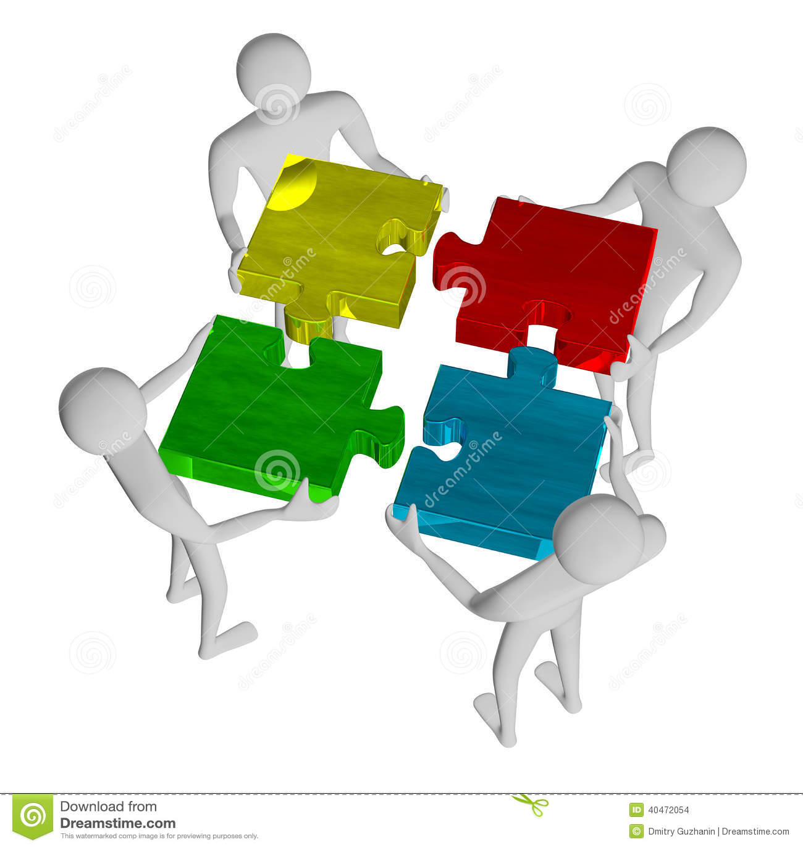 ï 3d people assembling multicolor puzzle stock illustration